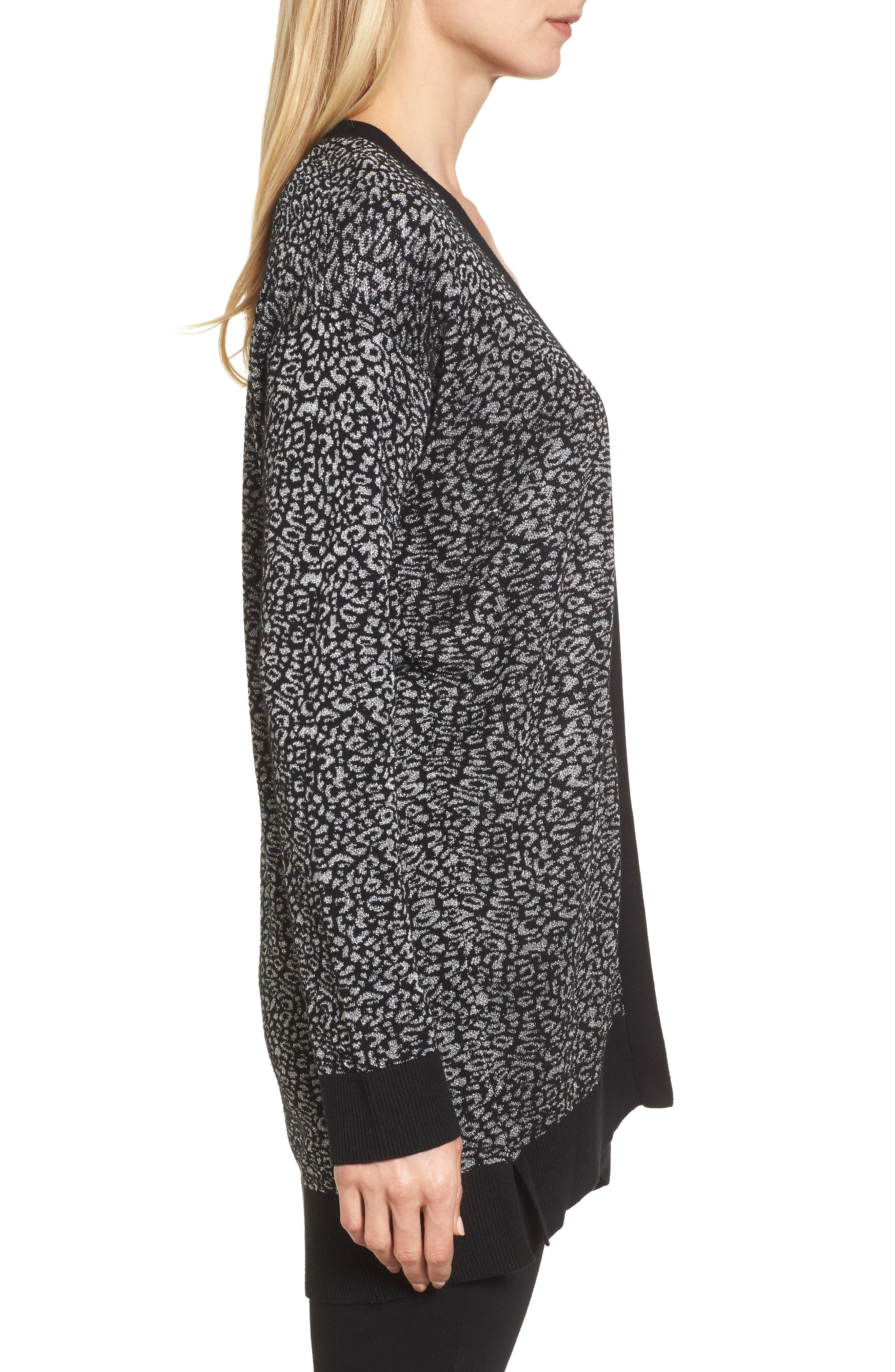 Alternate Image 3  - Chaus Metallic Animal Jacquard Long Cardigan