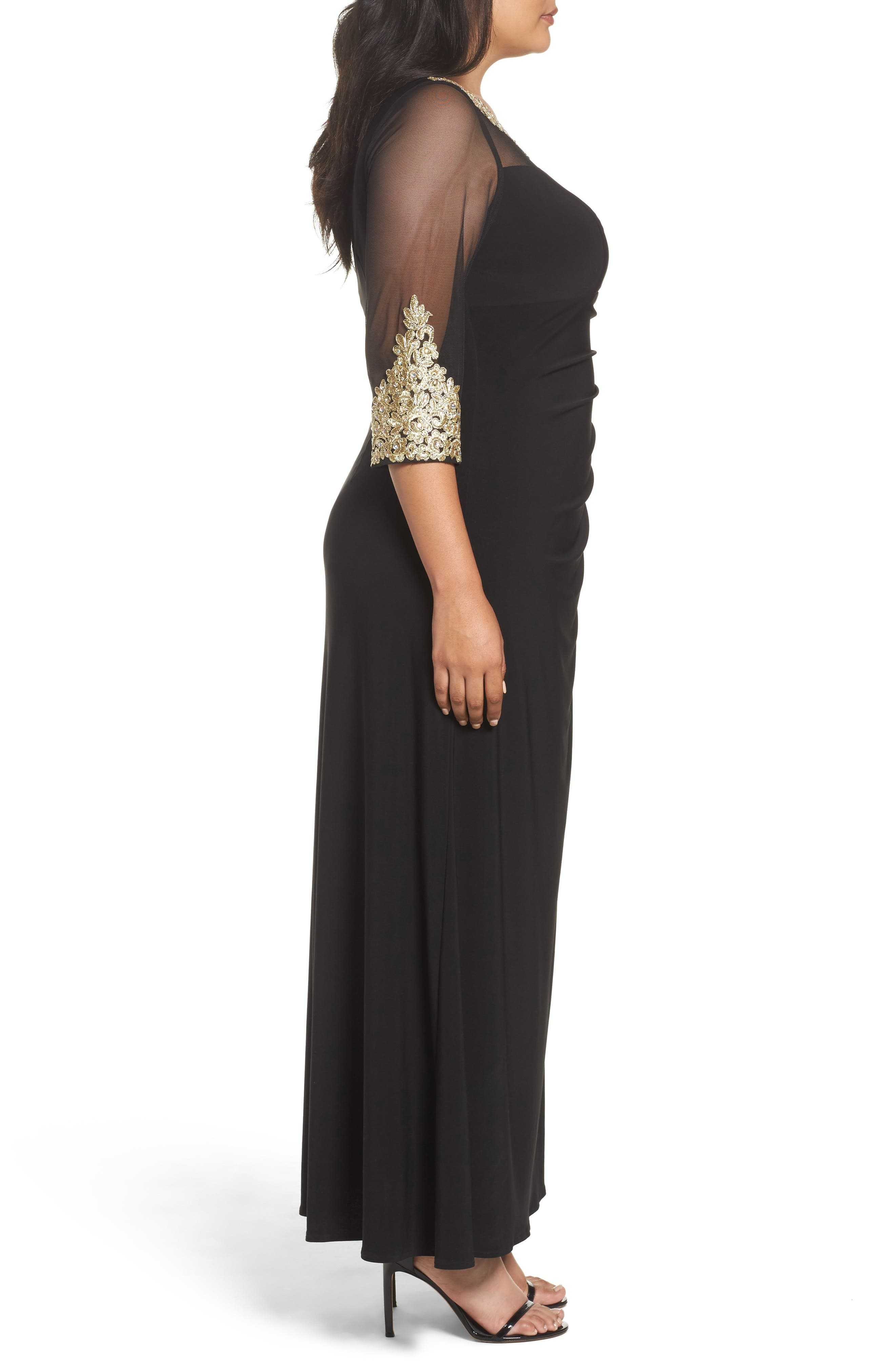 Embroidered A-Line Gown,                             Alternate thumbnail 3, color,                             Black/ Gold
