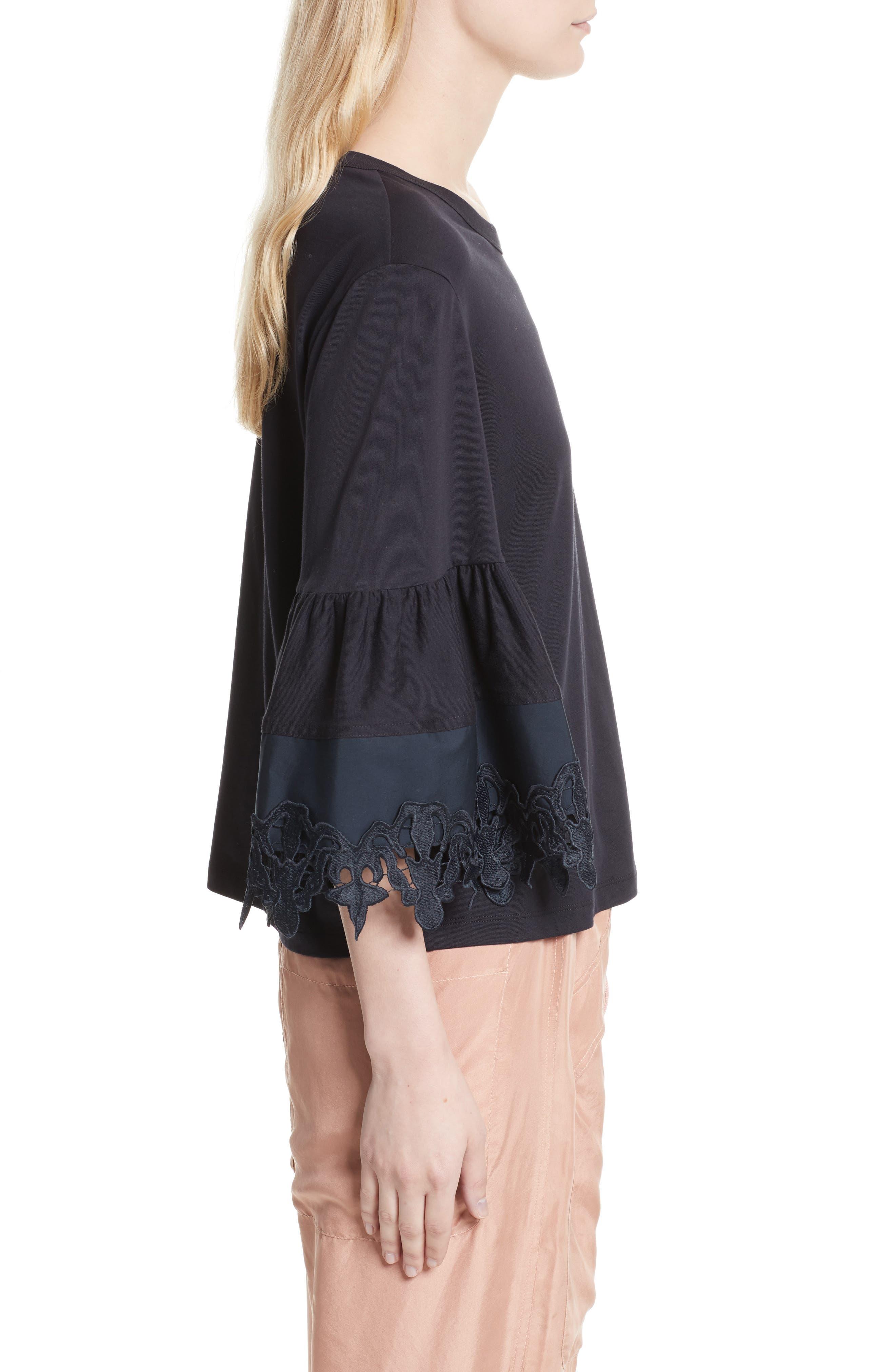 Lace Trim Bell Sleeve Top,                             Alternate thumbnail 3, color,                             Black