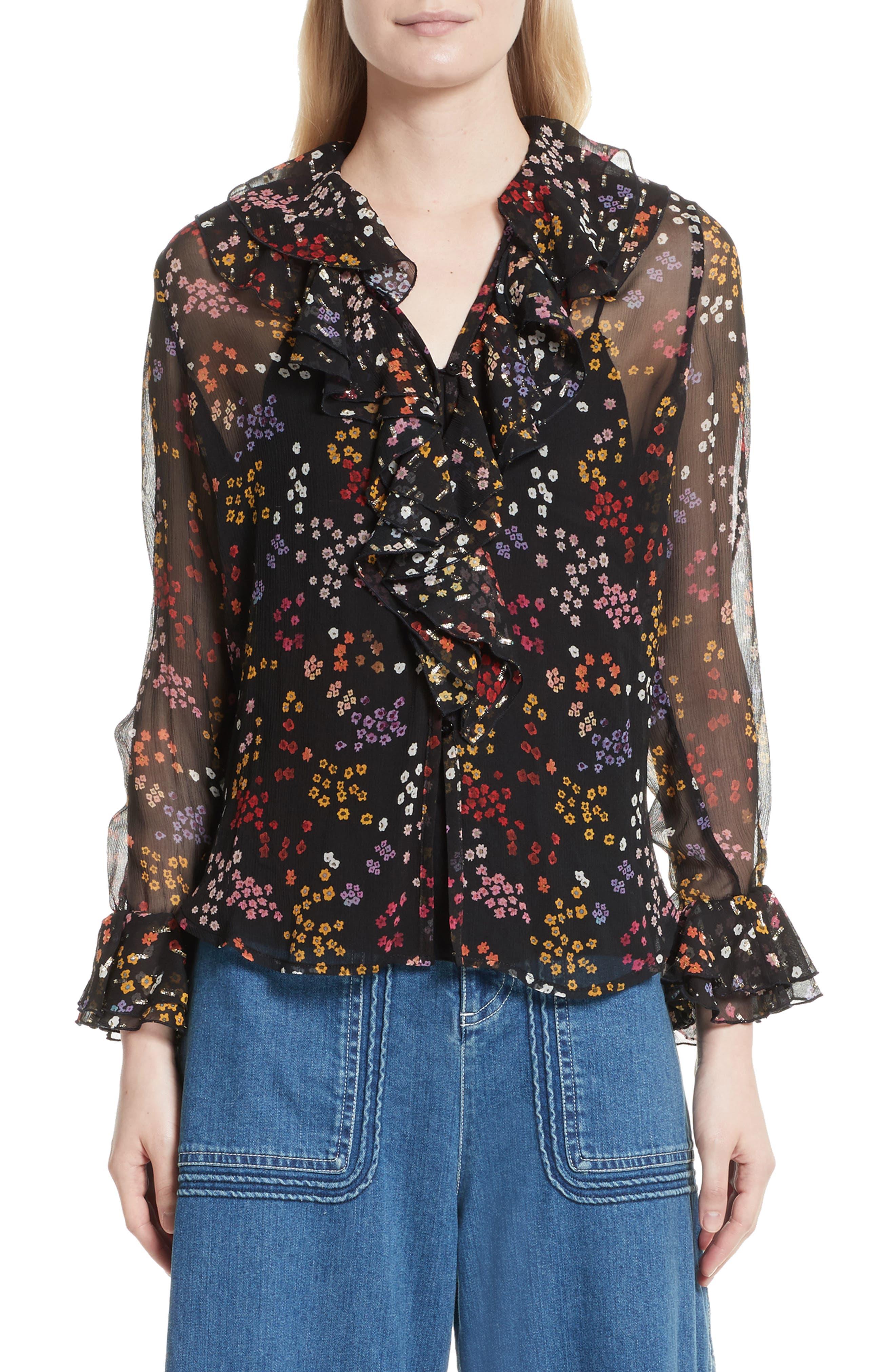 Floral Silk Blouse,                             Main thumbnail 1, color,                             Multicolor Black 1