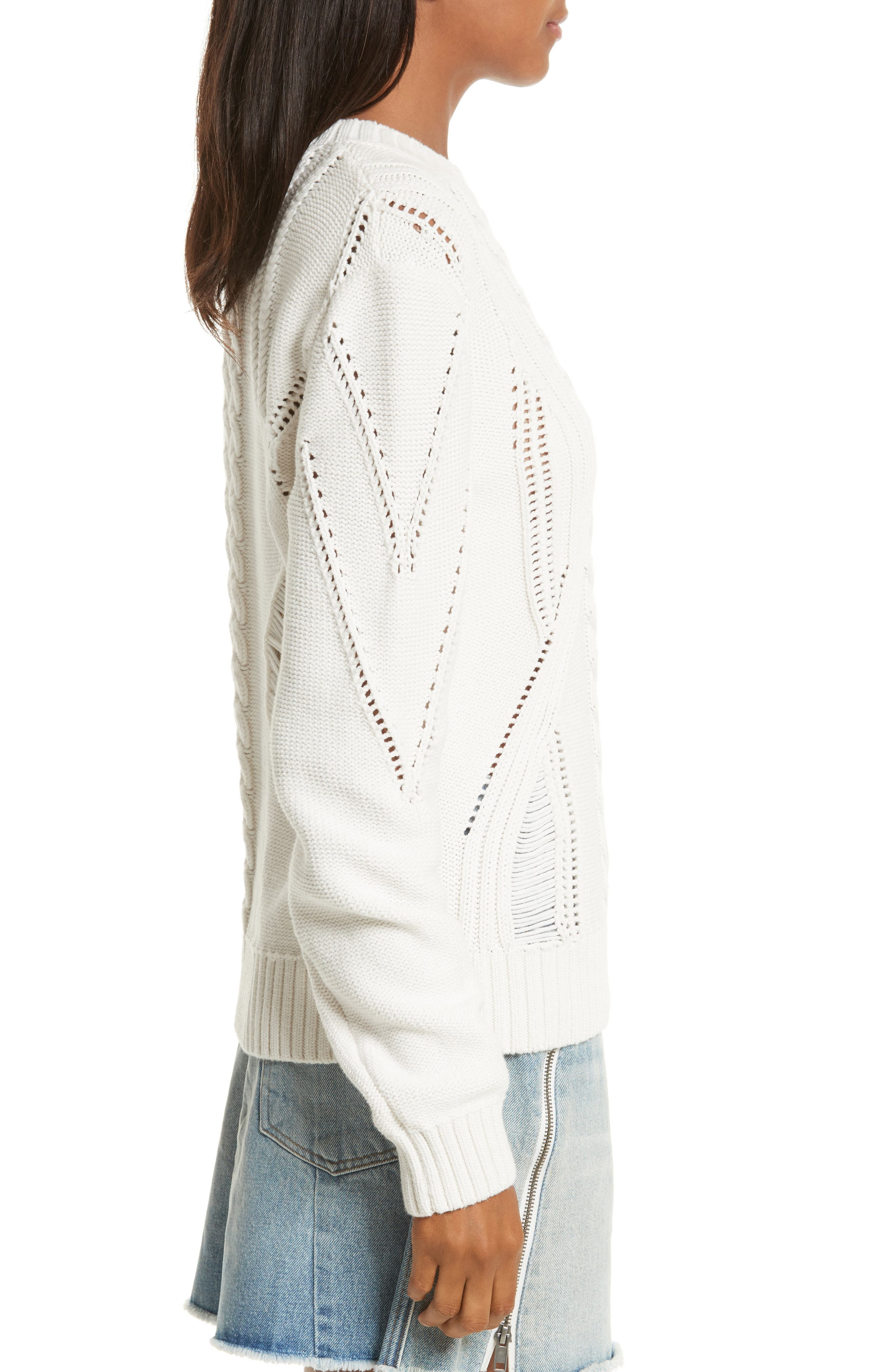 Cable Knit Sweater,                             Alternate thumbnail 3, color,                             Off White