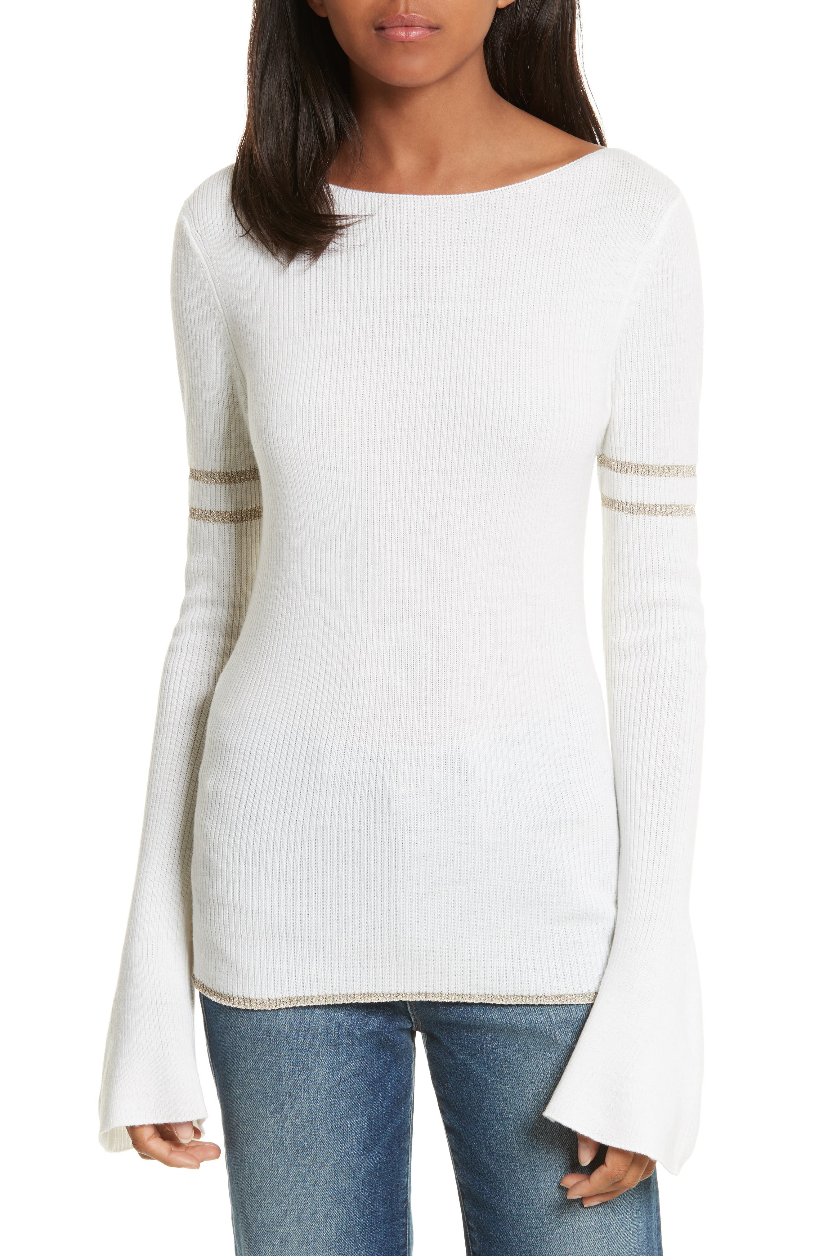 Metallic Knit Merino Wool Blend Sweater,                         Main,                         color, Off White Multi