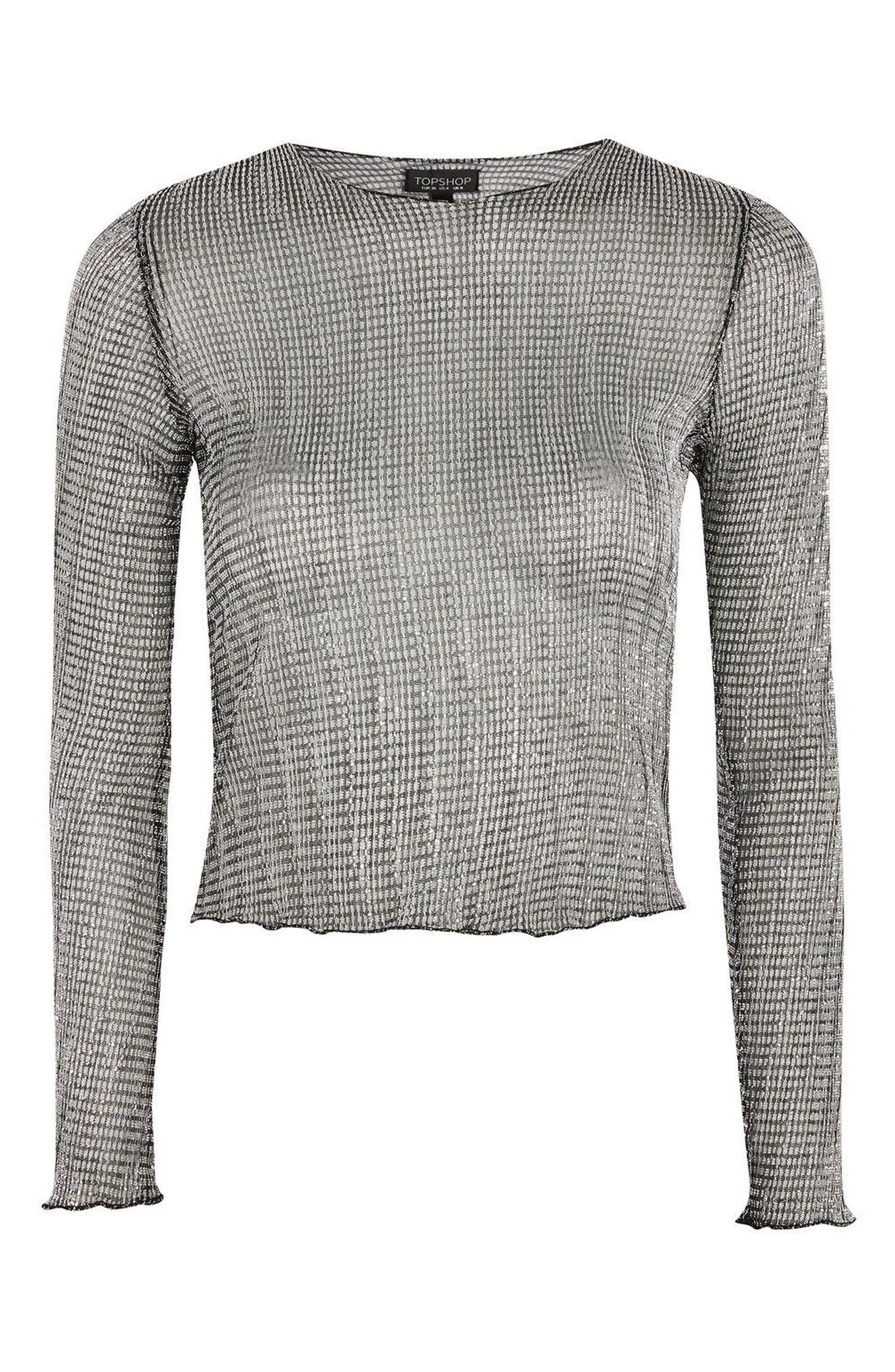 Alternate Image 5  - Topshop Chainmail Lettuce Edge Sheer Top