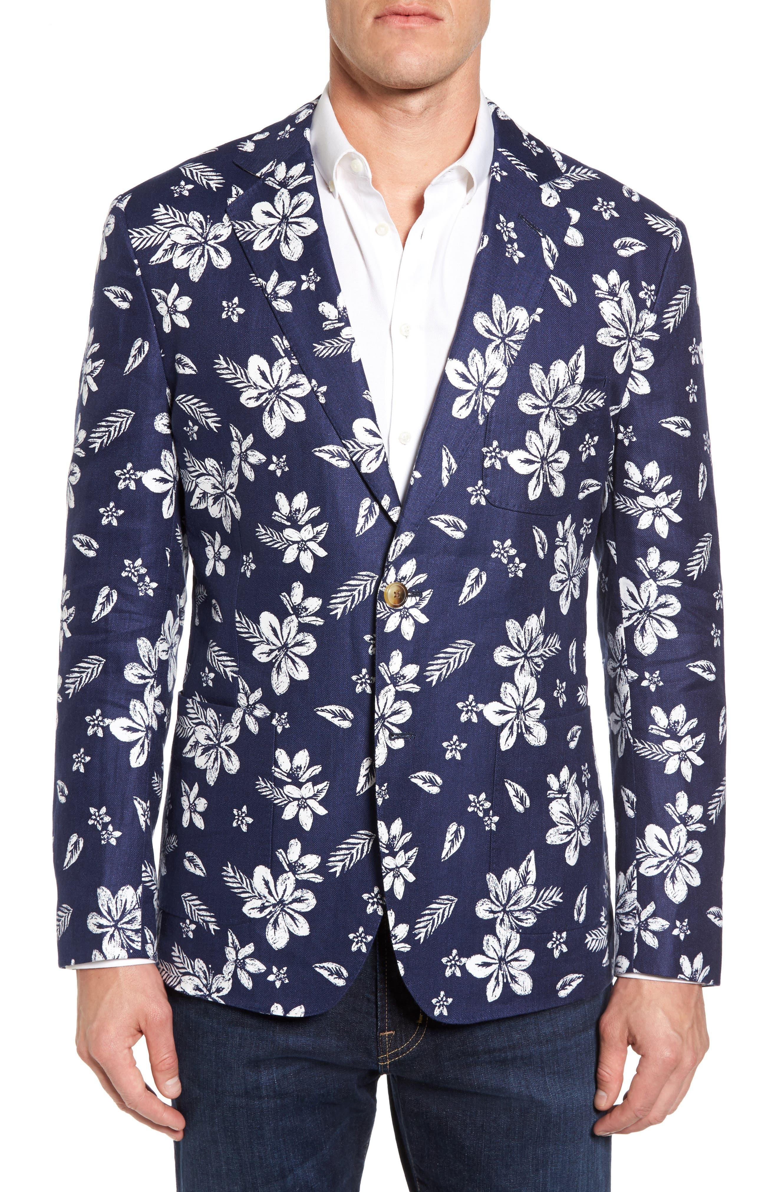 Main Image - vineyard vines Classic Fit Floral Linen Blend Sport Coat