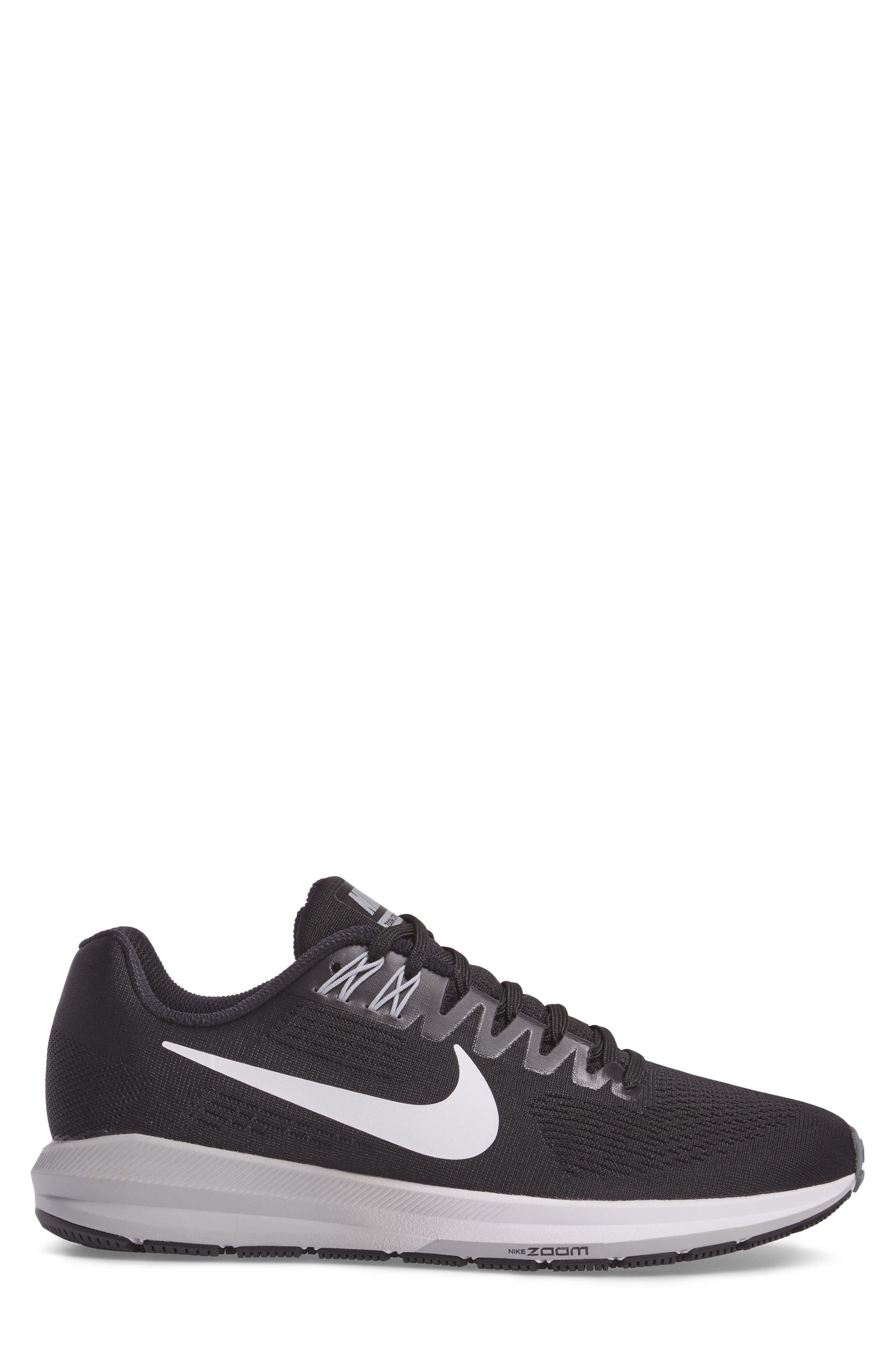 Air Zoom Structure 21 Running Shoe,                             Alternate thumbnail 3, color,                             Black/White/Wolf Grey