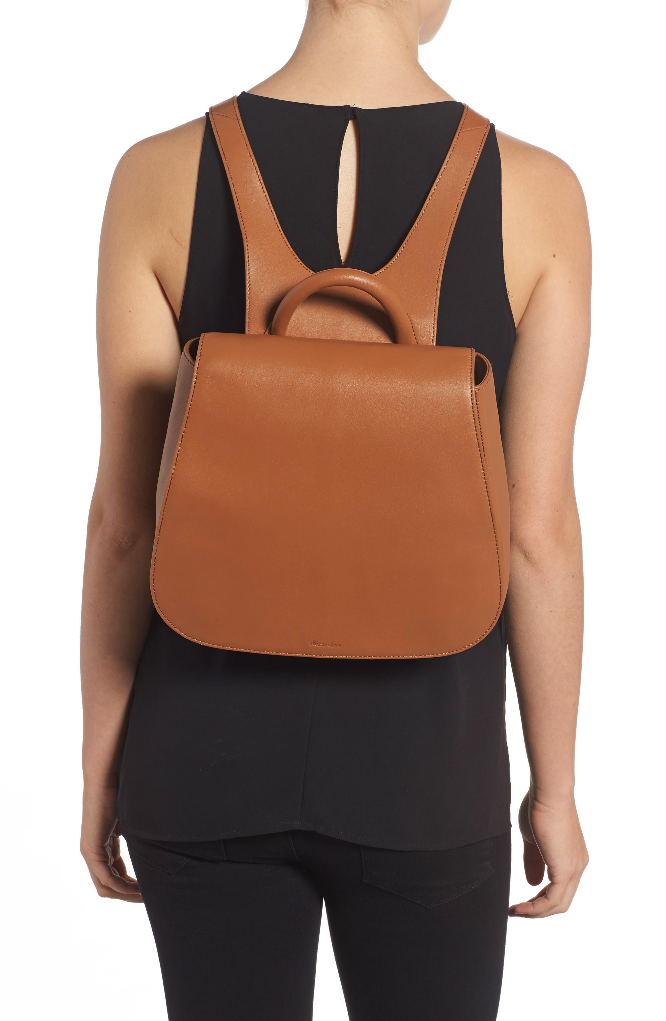 Kate Calfskin Leather Backpack,                             Alternate thumbnail 2, color,                             Saddle