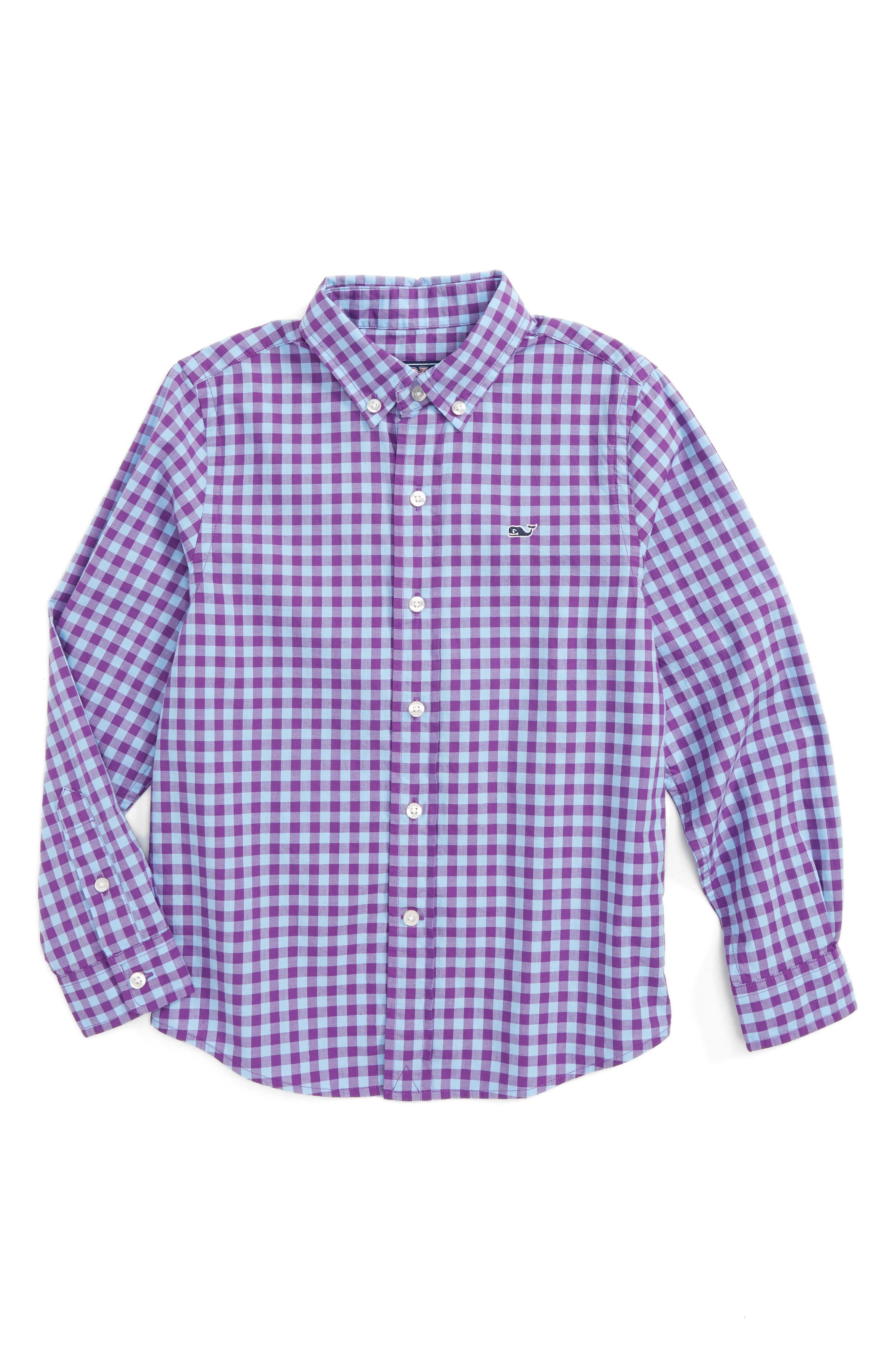Foggy Quarter Gingham Whale Shirt,                             Main thumbnail 1, color,                             Snapdragon