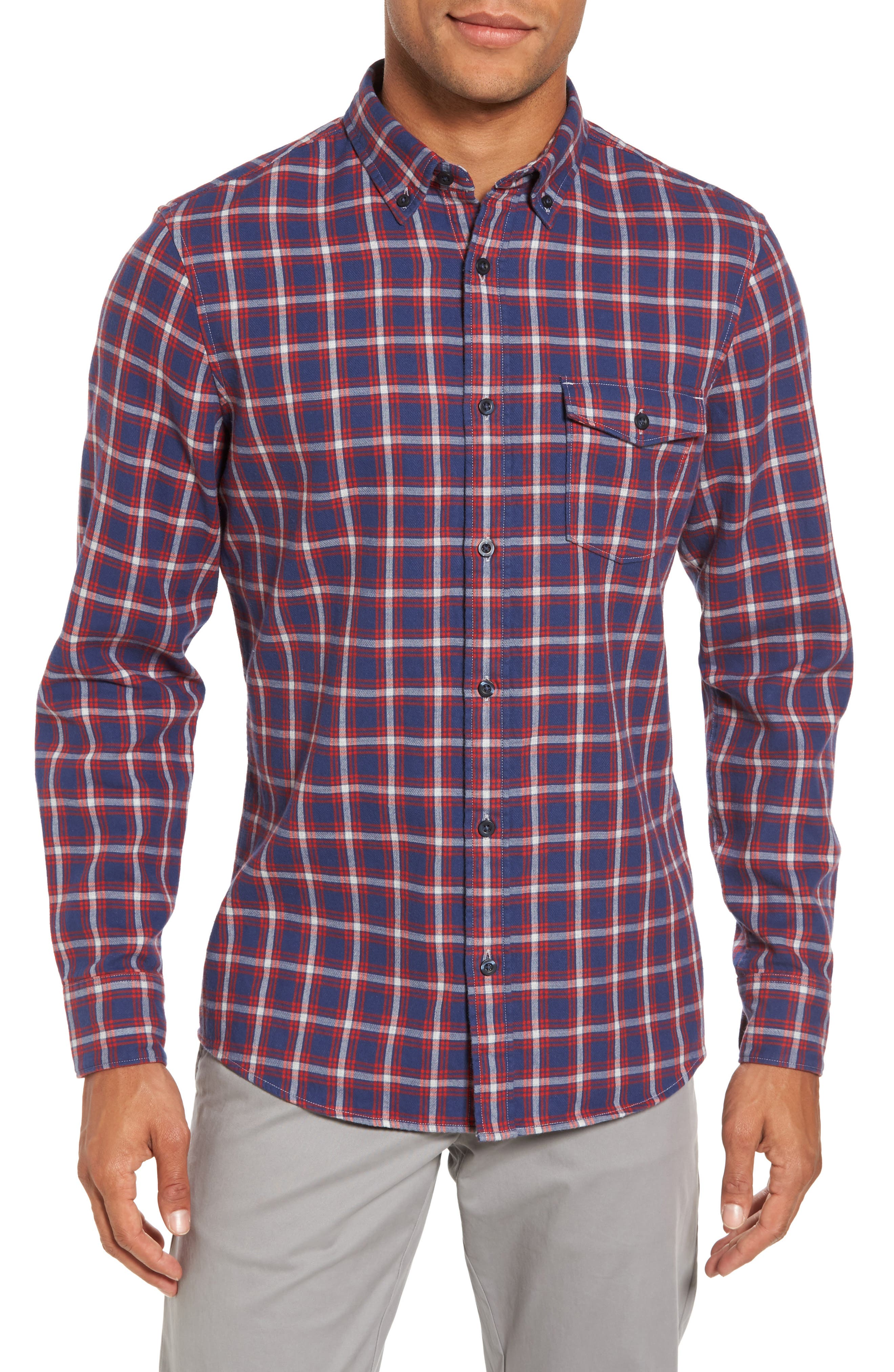 Trim Fit Duofold Check Sport Shirt,                         Main,                         color, Navy Iris Red Plaid Duofold