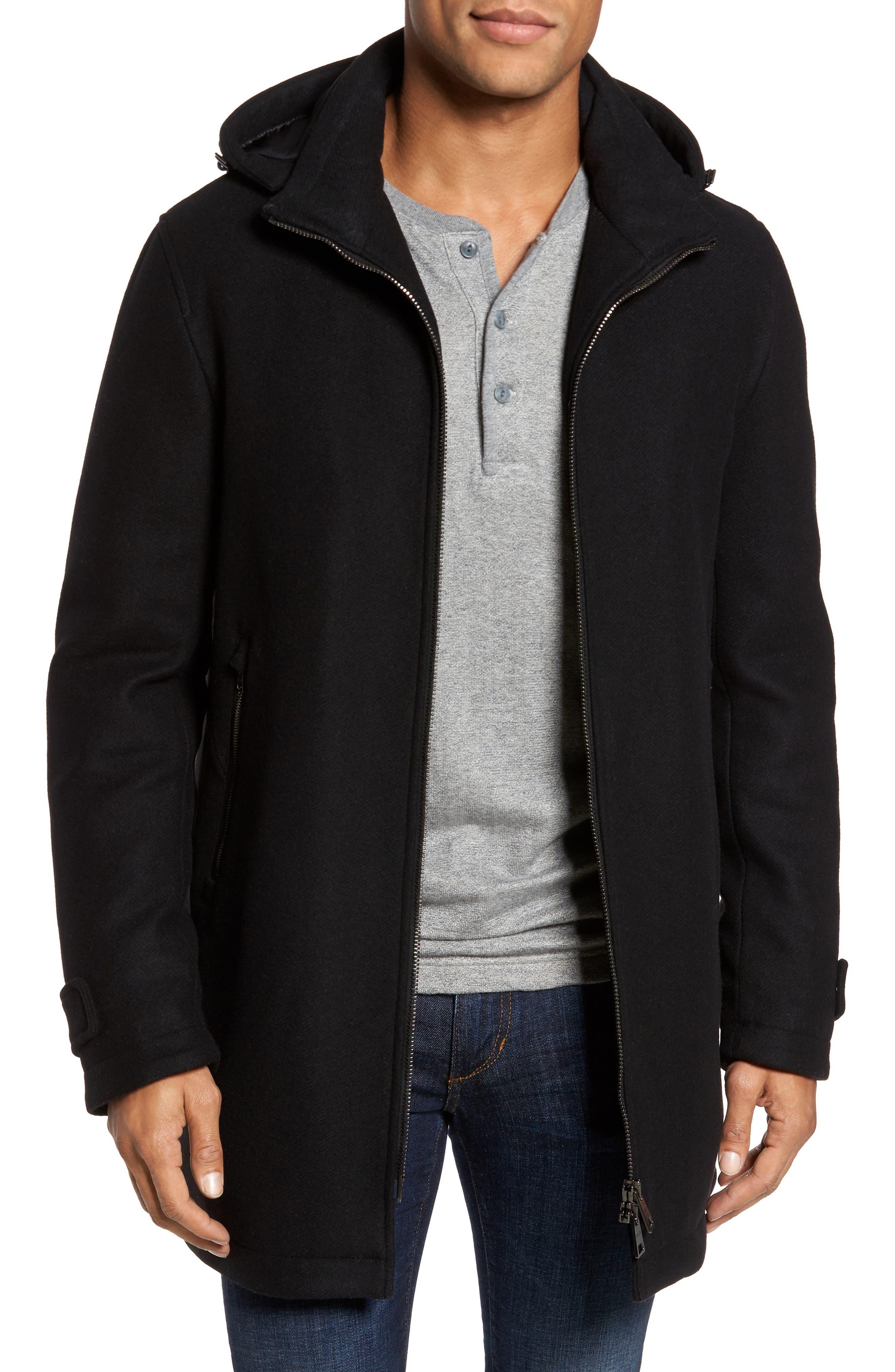 Wool Blend Hooded Coat,                         Main,                         color, Black