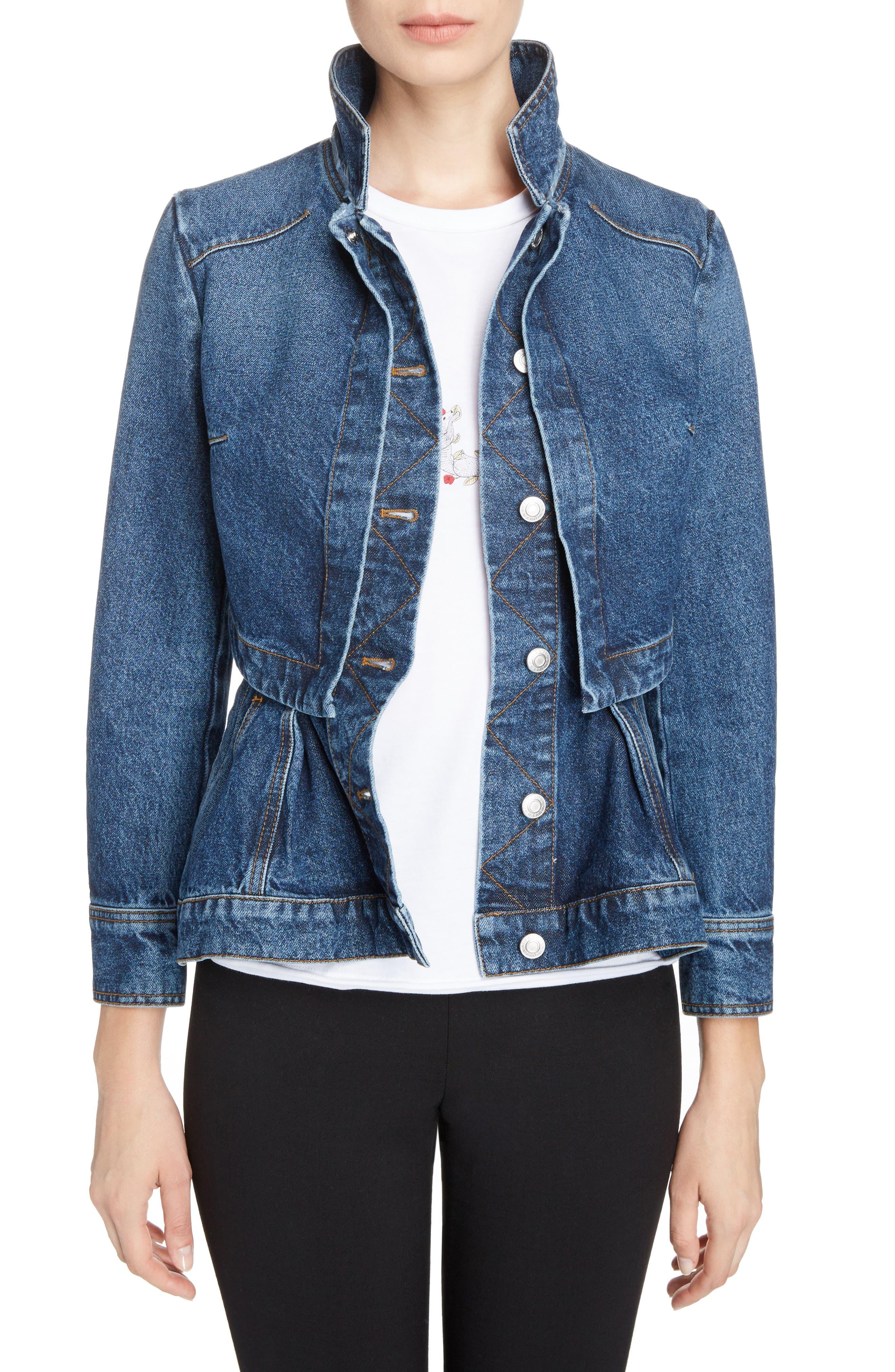 Peplum Denim Jacket,                         Main,                         color, Vintage Wash