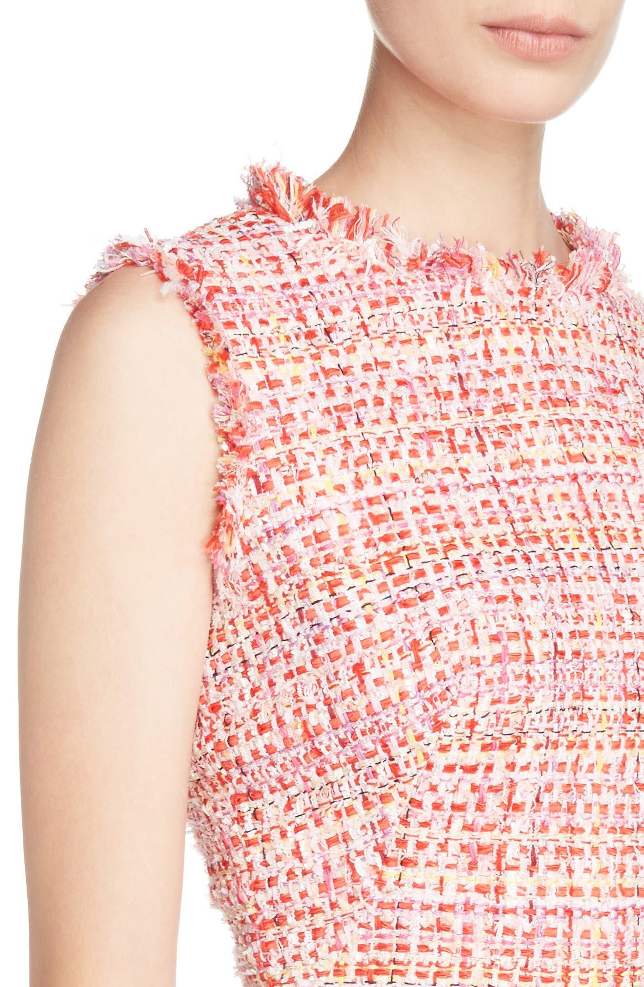 Ribbon Tweed Sheath Dress,                             Alternate thumbnail 4, color,                             Mix