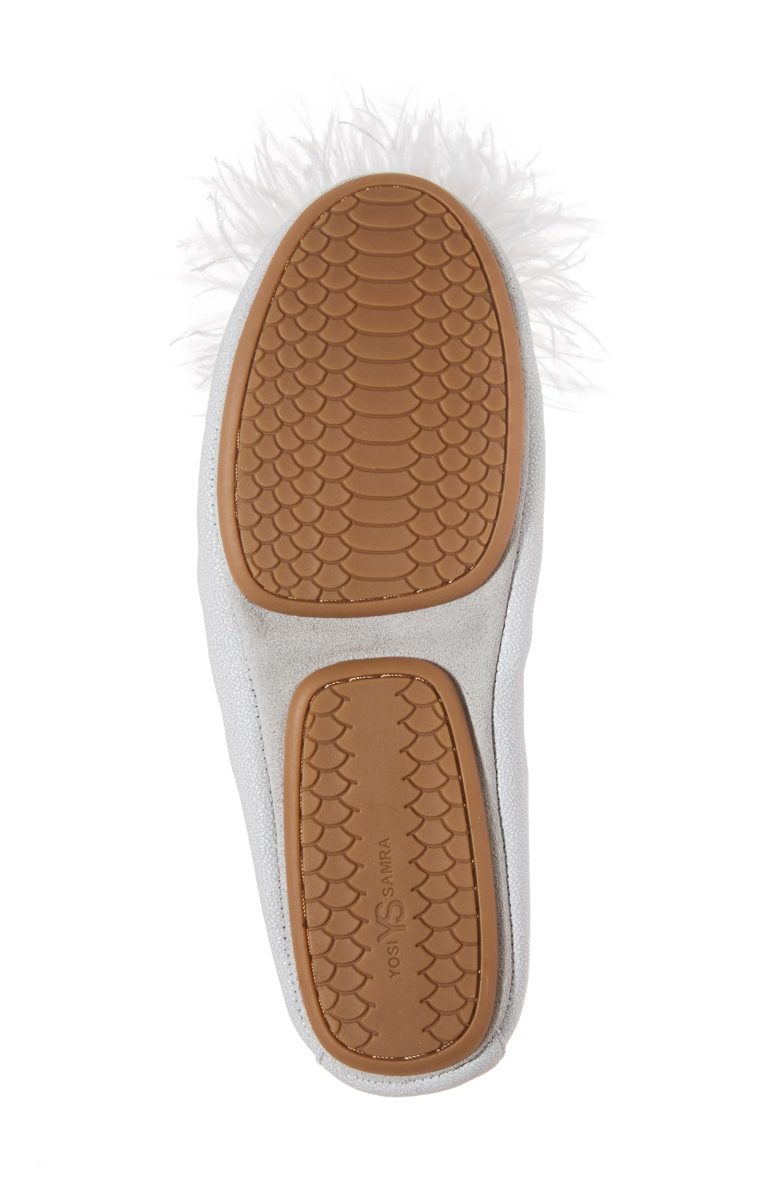Marabou Feather Pompom Flat,                             Alternate thumbnail 6, color,                             Silver Leather