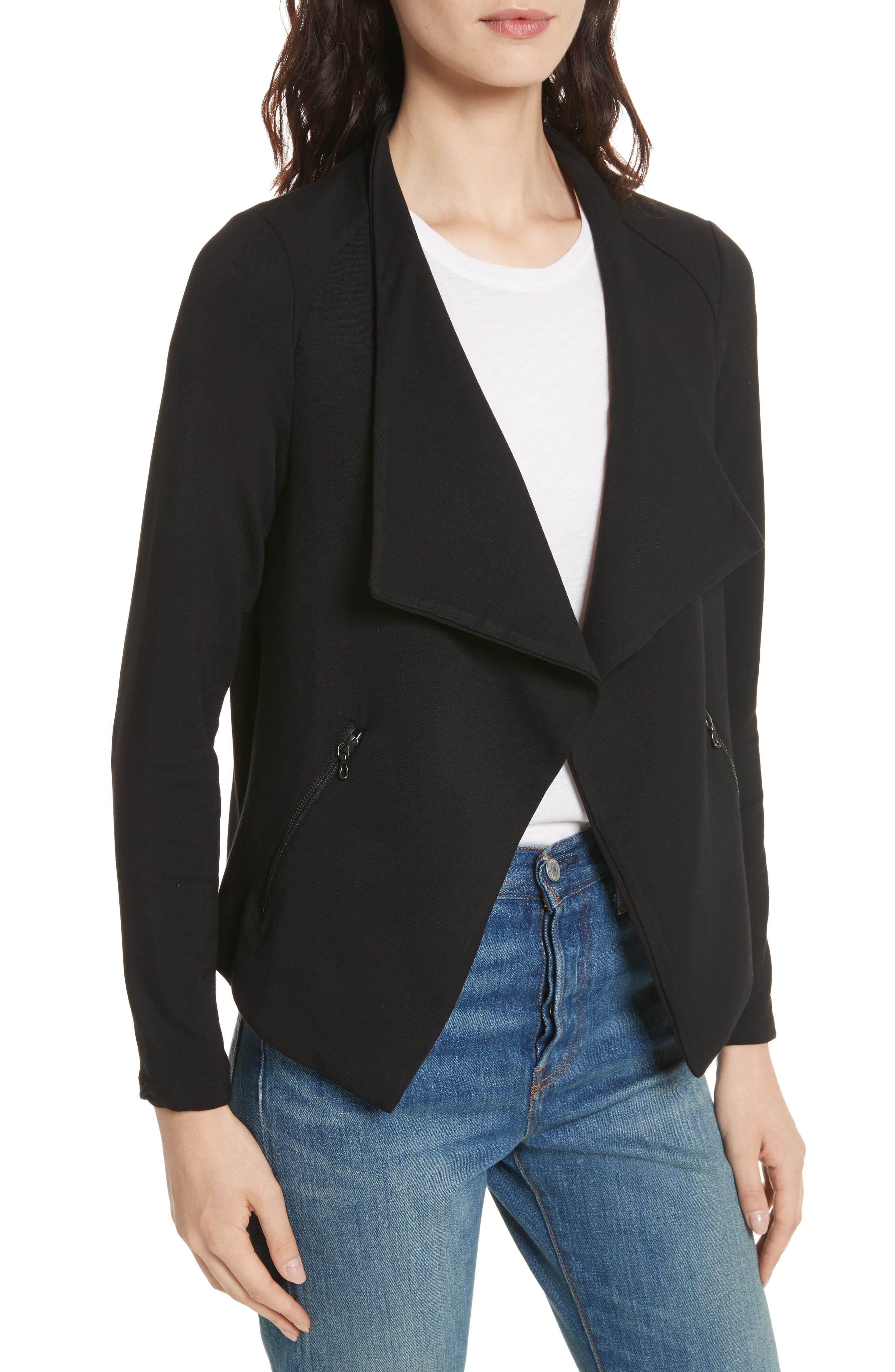 Soft Touch French Terry Moto Jacket,                             Alternate thumbnail 4, color,                             Noir