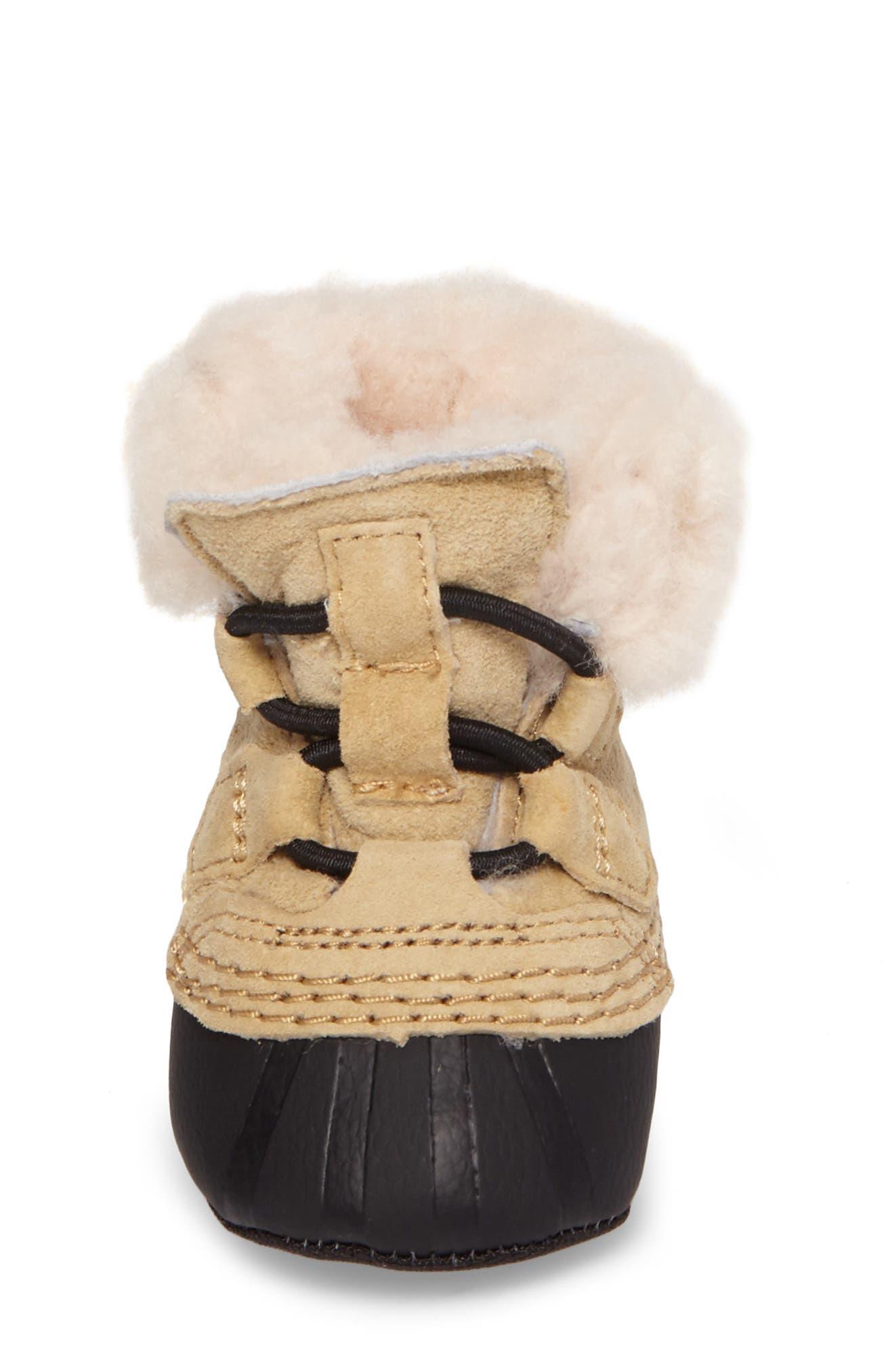 Alternate Image 4  - SOREL Caribootie Genuine Shearling Crib Shoe (Baby)