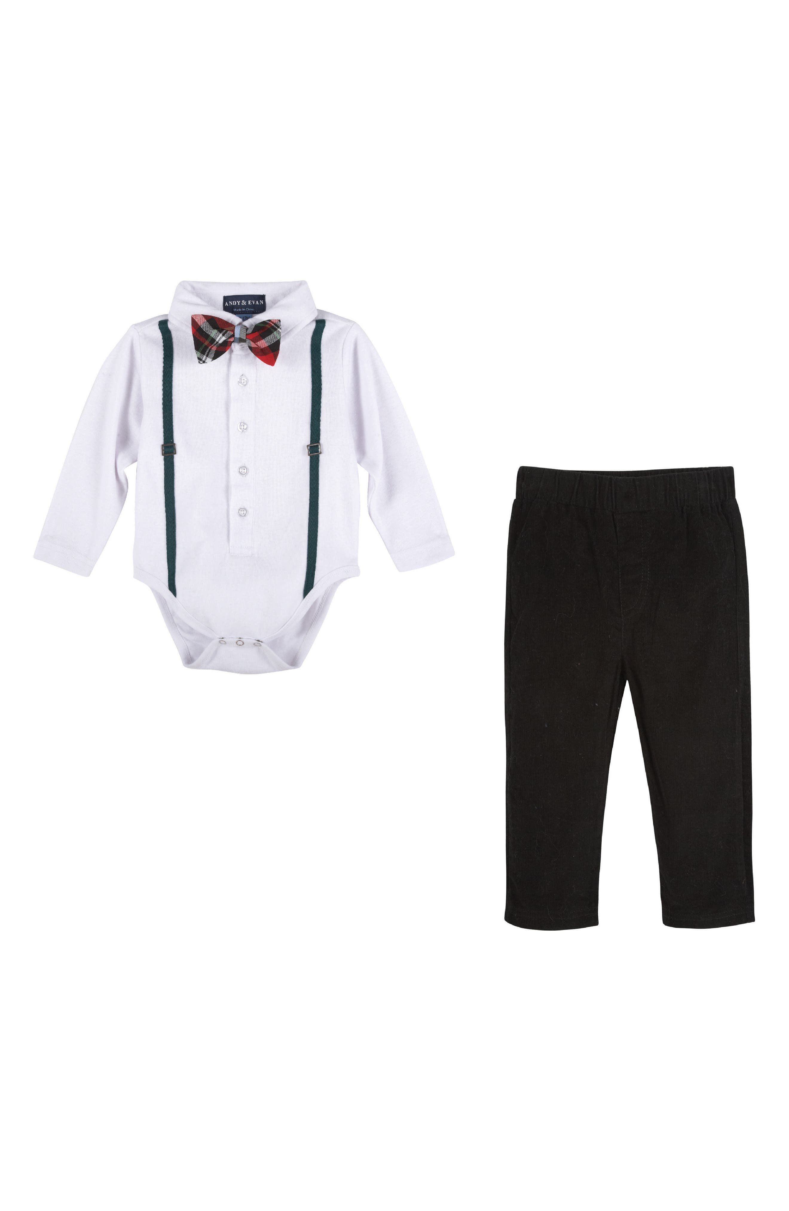Andy & Evan Bodysuit, Bow Tie & Pants Set (Baby Boy)