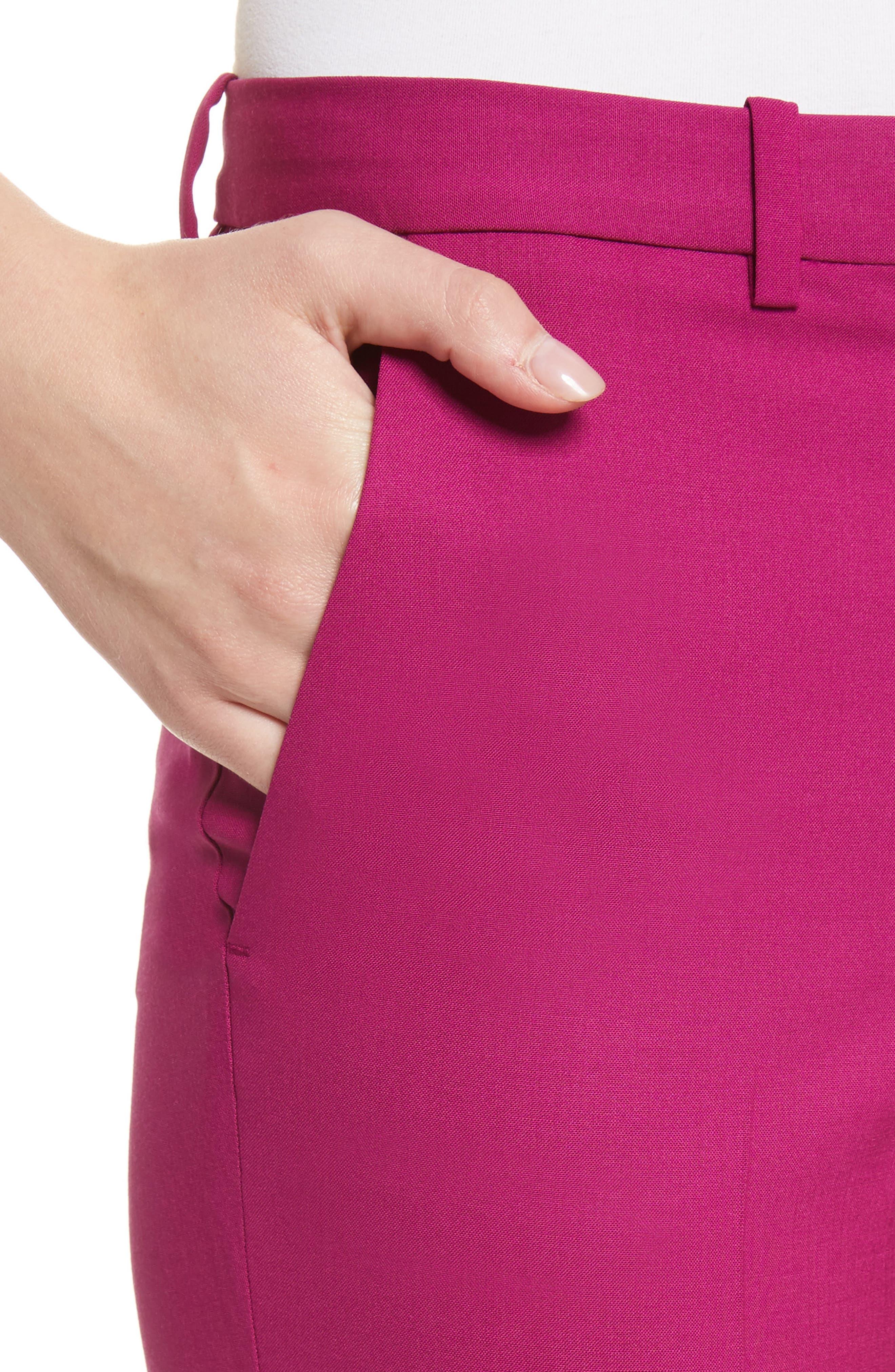 Demetria 2 Flare Leg Good Wool Suit Pants,                             Alternate thumbnail 5, color,                             Electric Pink