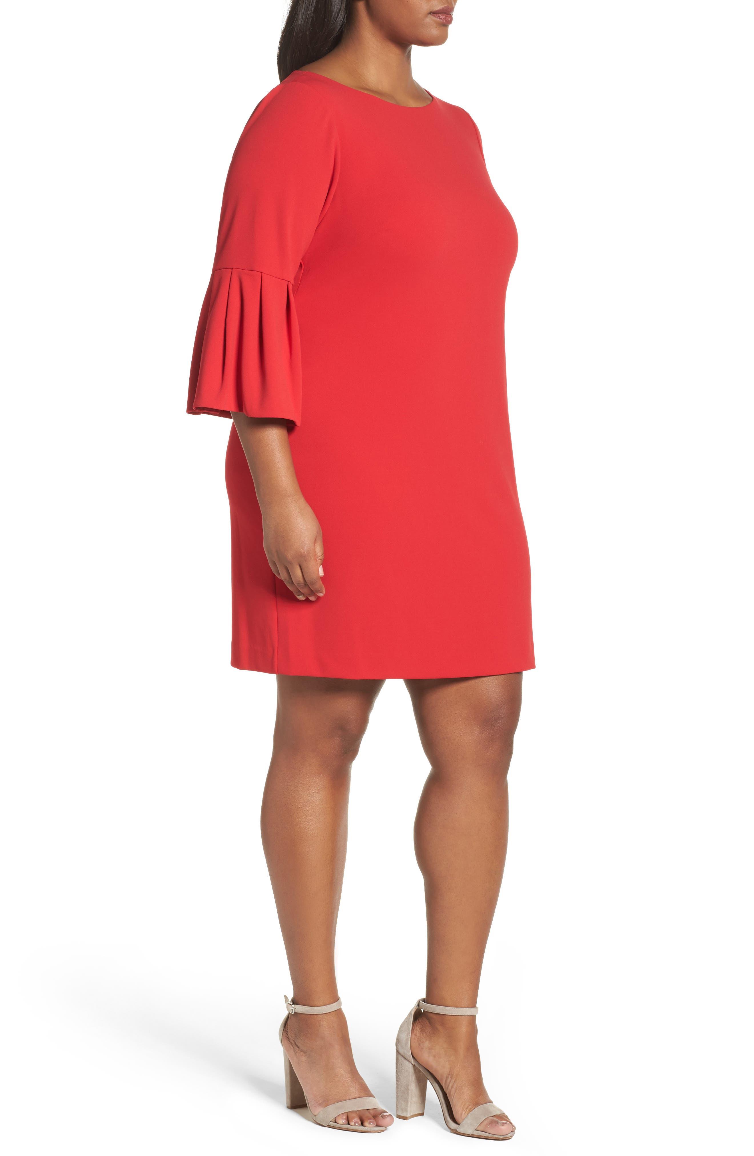Bell Sleeve Shift Dress,                             Alternate thumbnail 3, color,                             Red