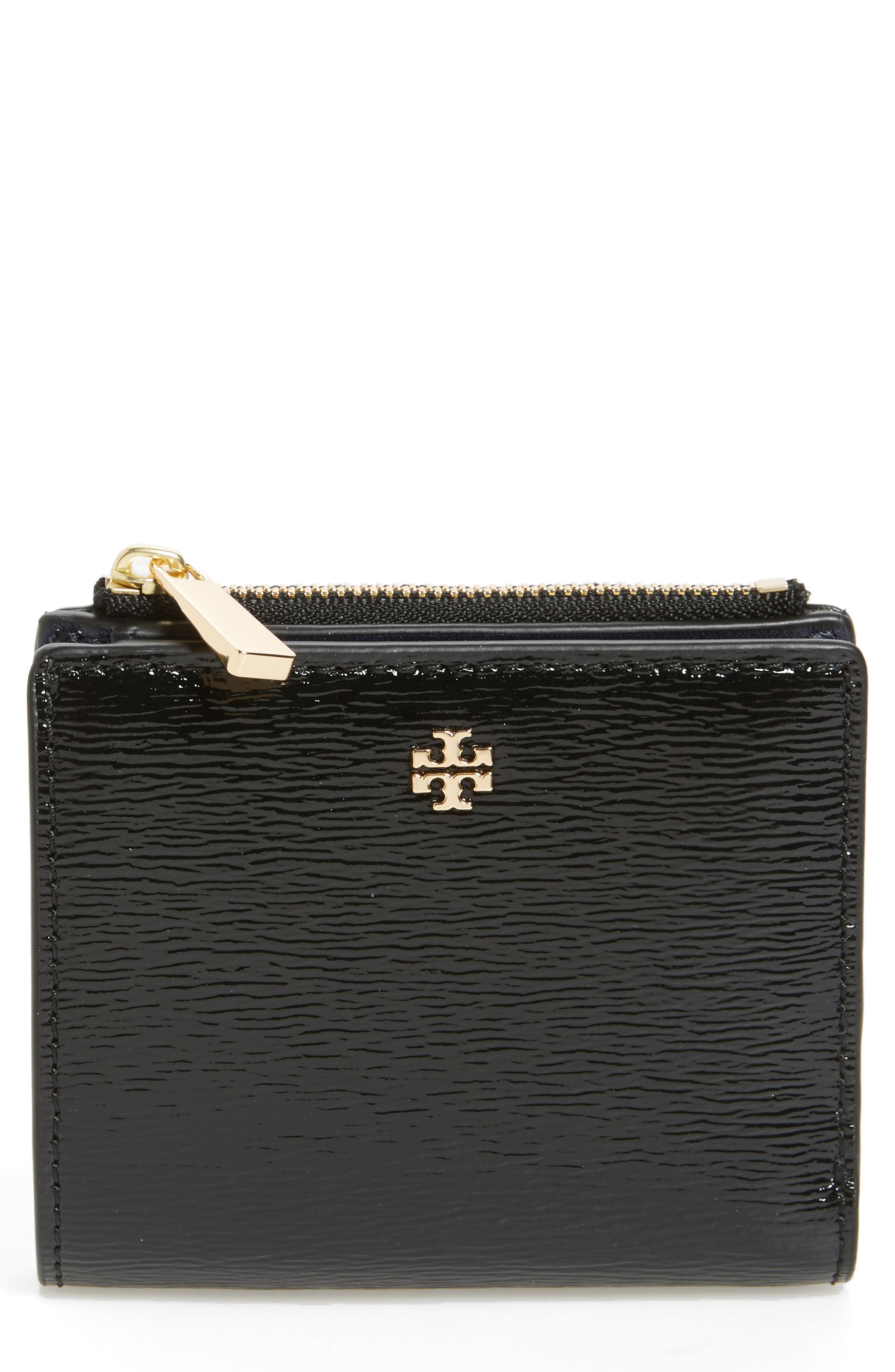 Main Image - Tory Burch Mini Robinson Wallet Patent Leather Bifold Wallet