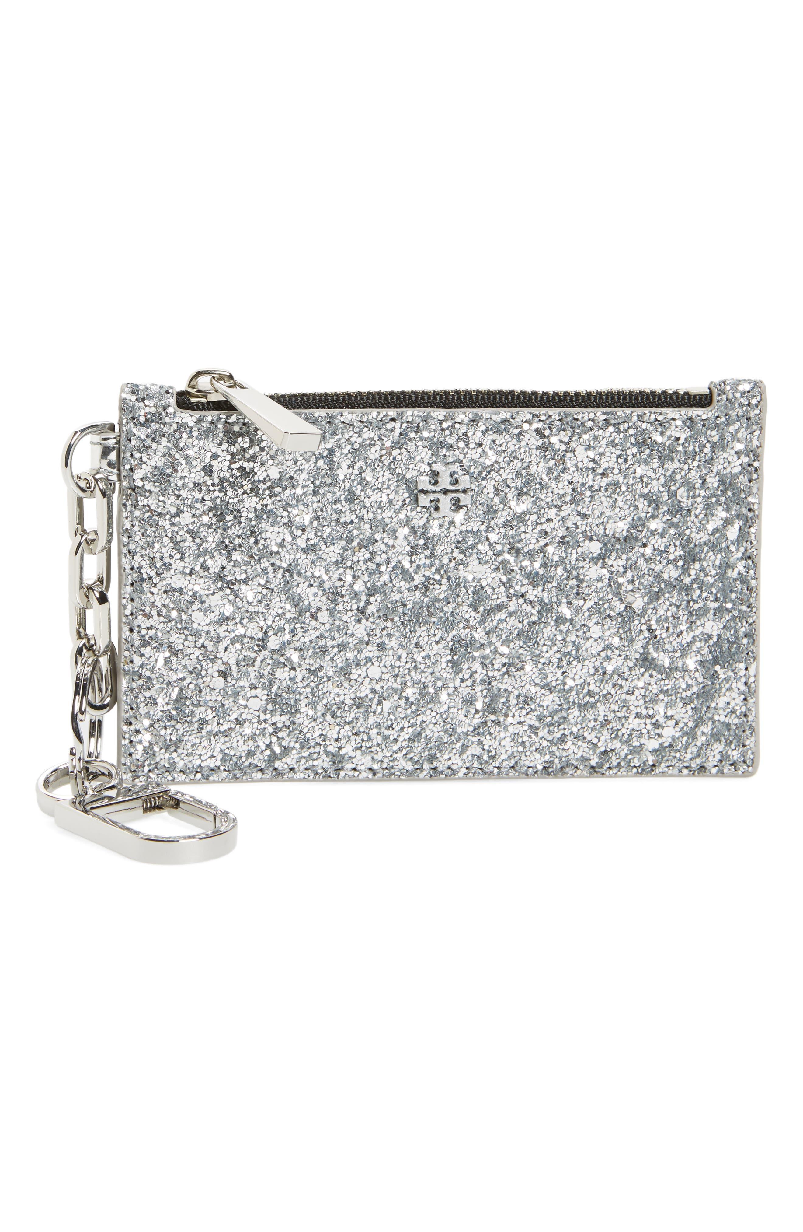 Robinson Glitter Card Case with Key Chain,                             Main thumbnail 1, color,                             Silver Glitter