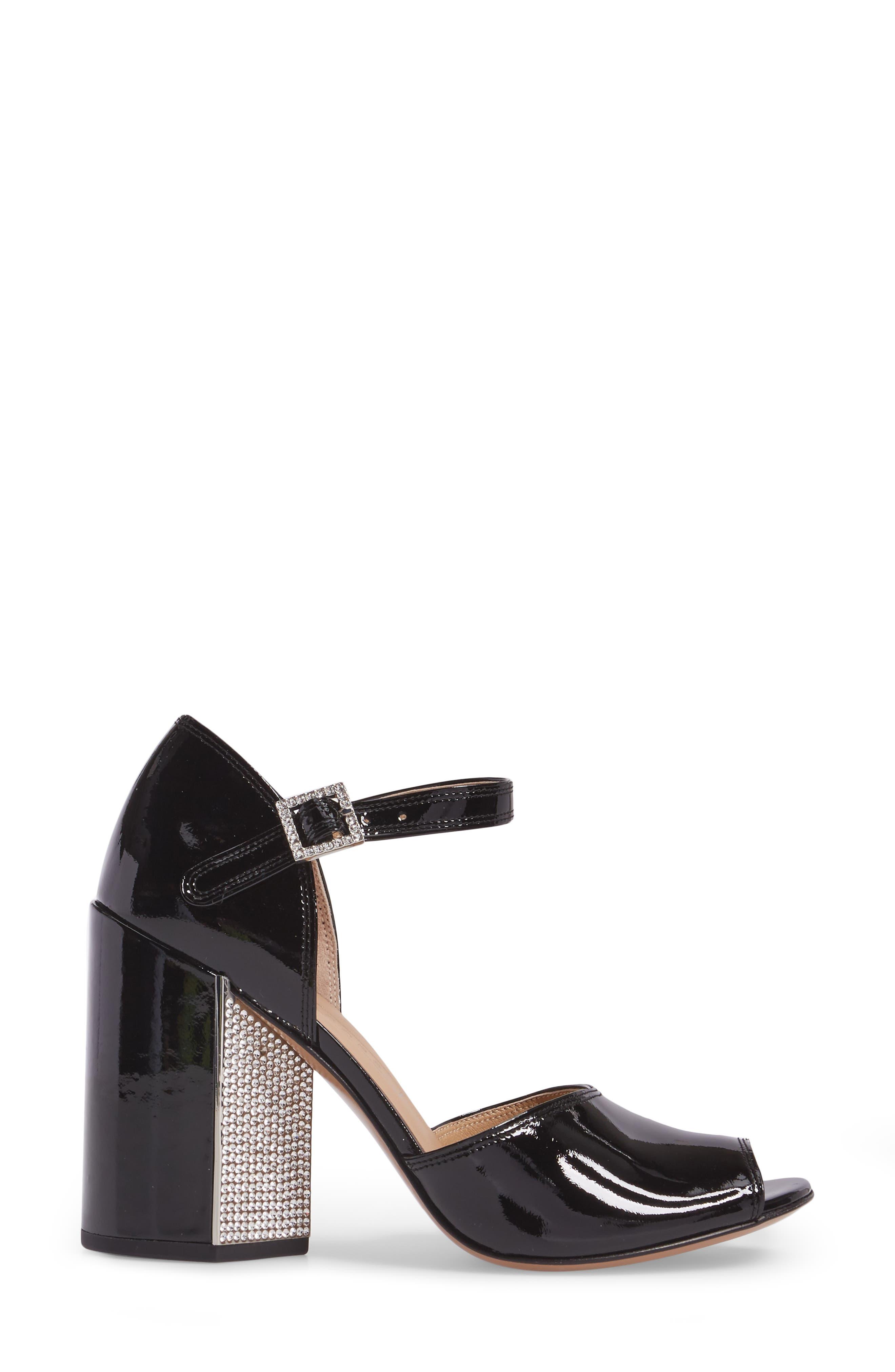 Kasia Embellished Ankle Strap Sandal,                             Alternate thumbnail 3, color,                             Black