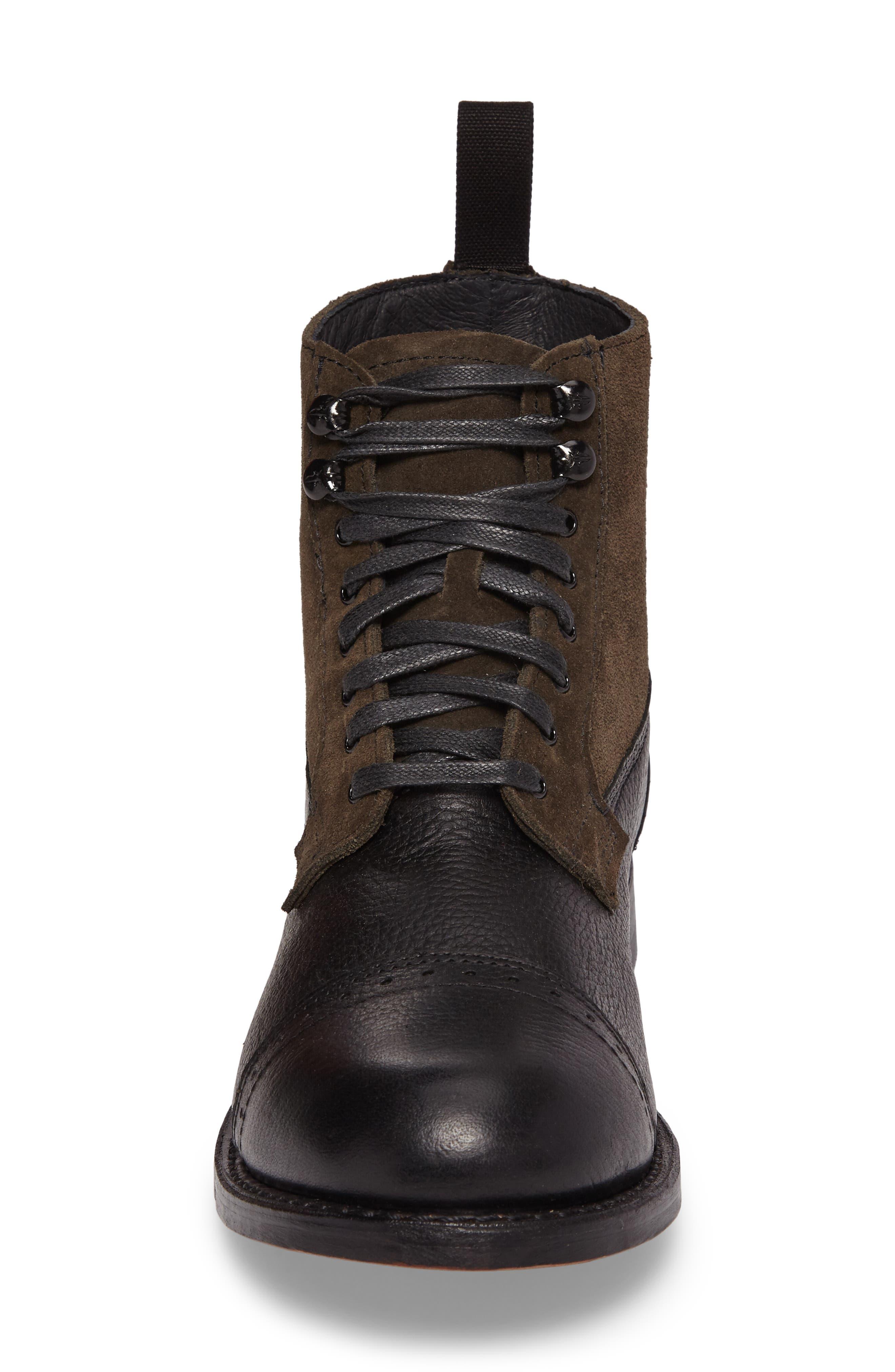 Frey Garrison Cap Toe Boot,                             Alternate thumbnail 4, color,                             Black Pebbled Leather