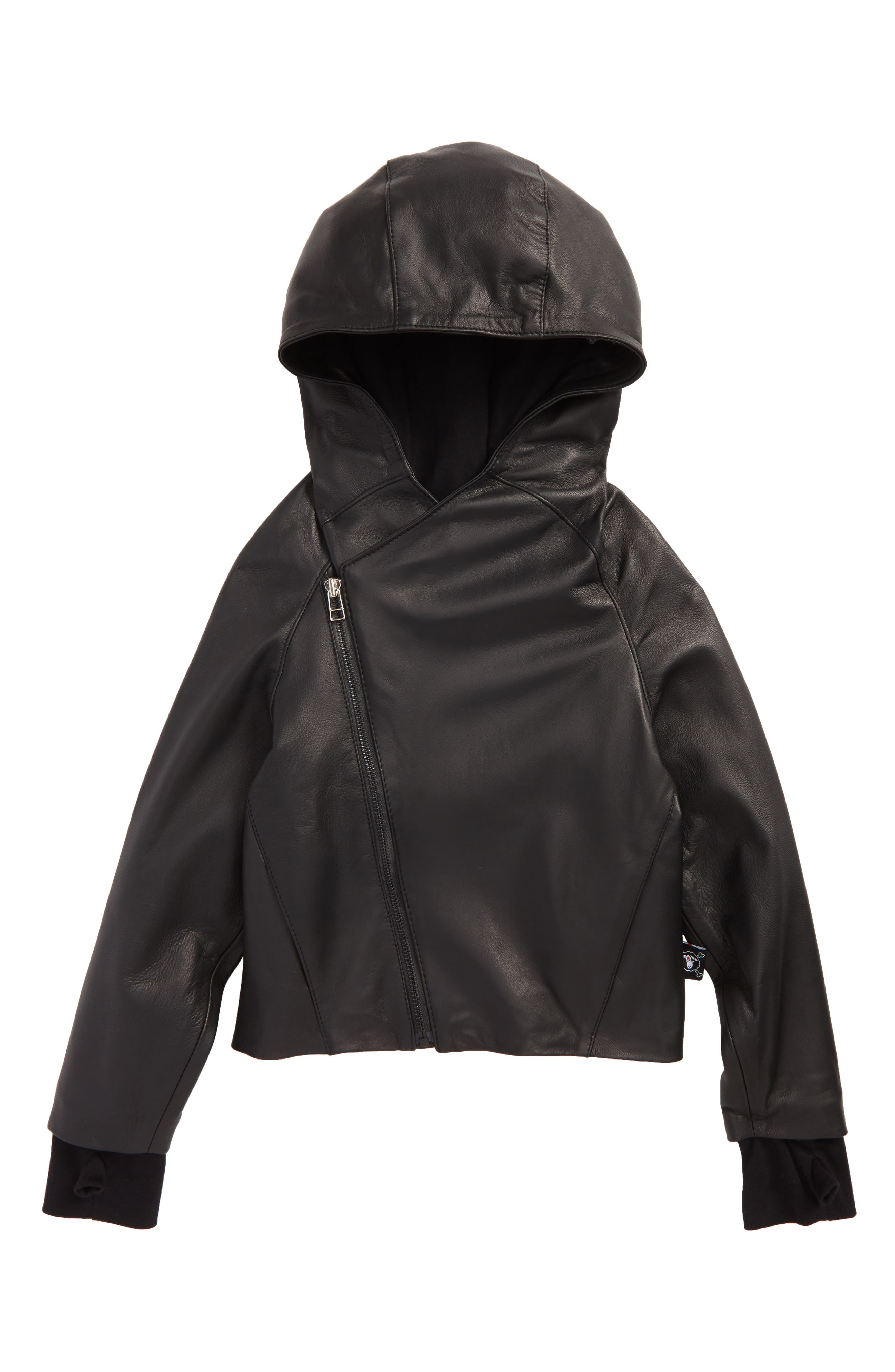 NUNUNU Hooded Leather Jacket (Toddler Boys & Little Boys)
