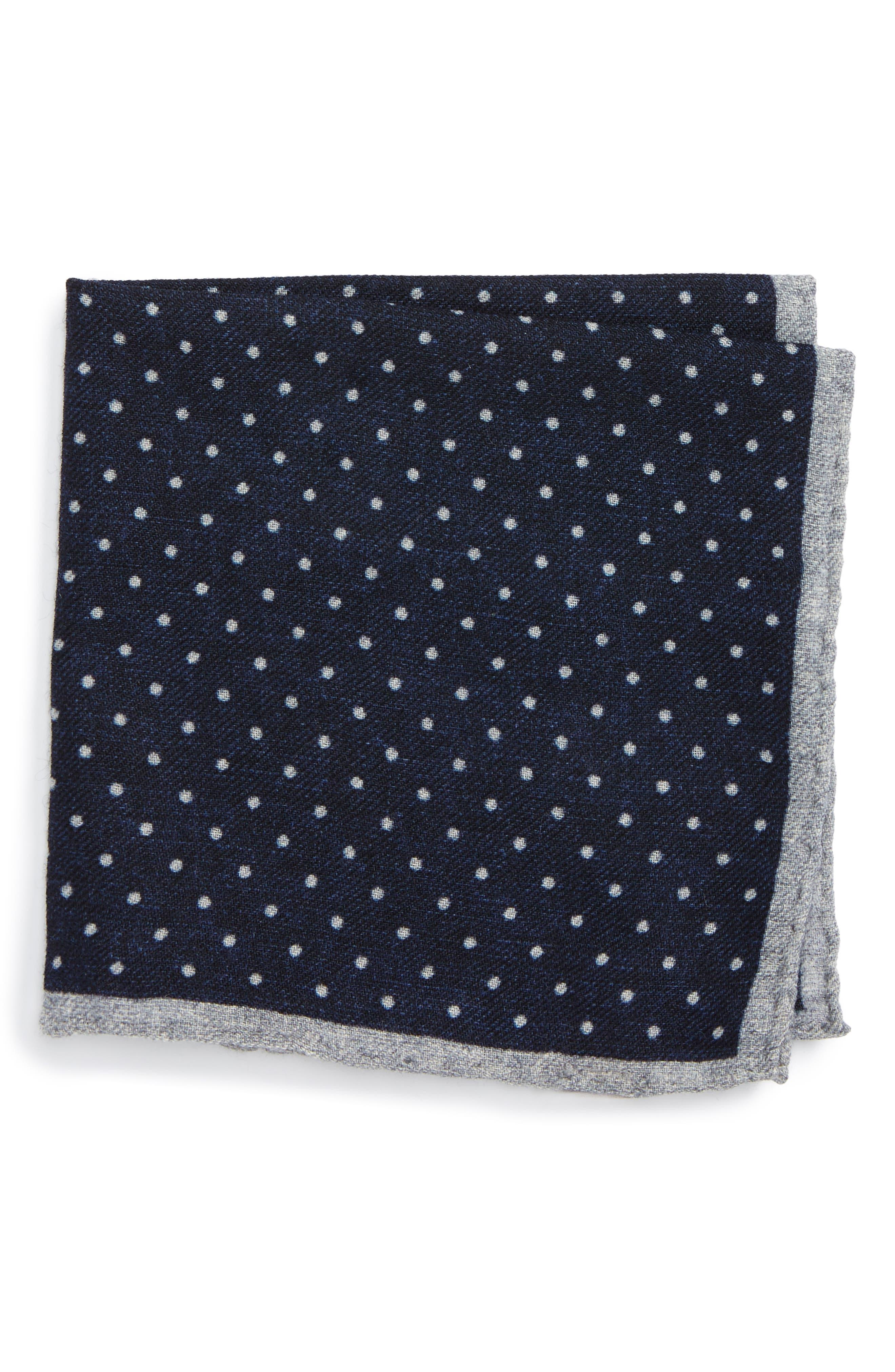 Eleventy Dot Wool Pocket Square