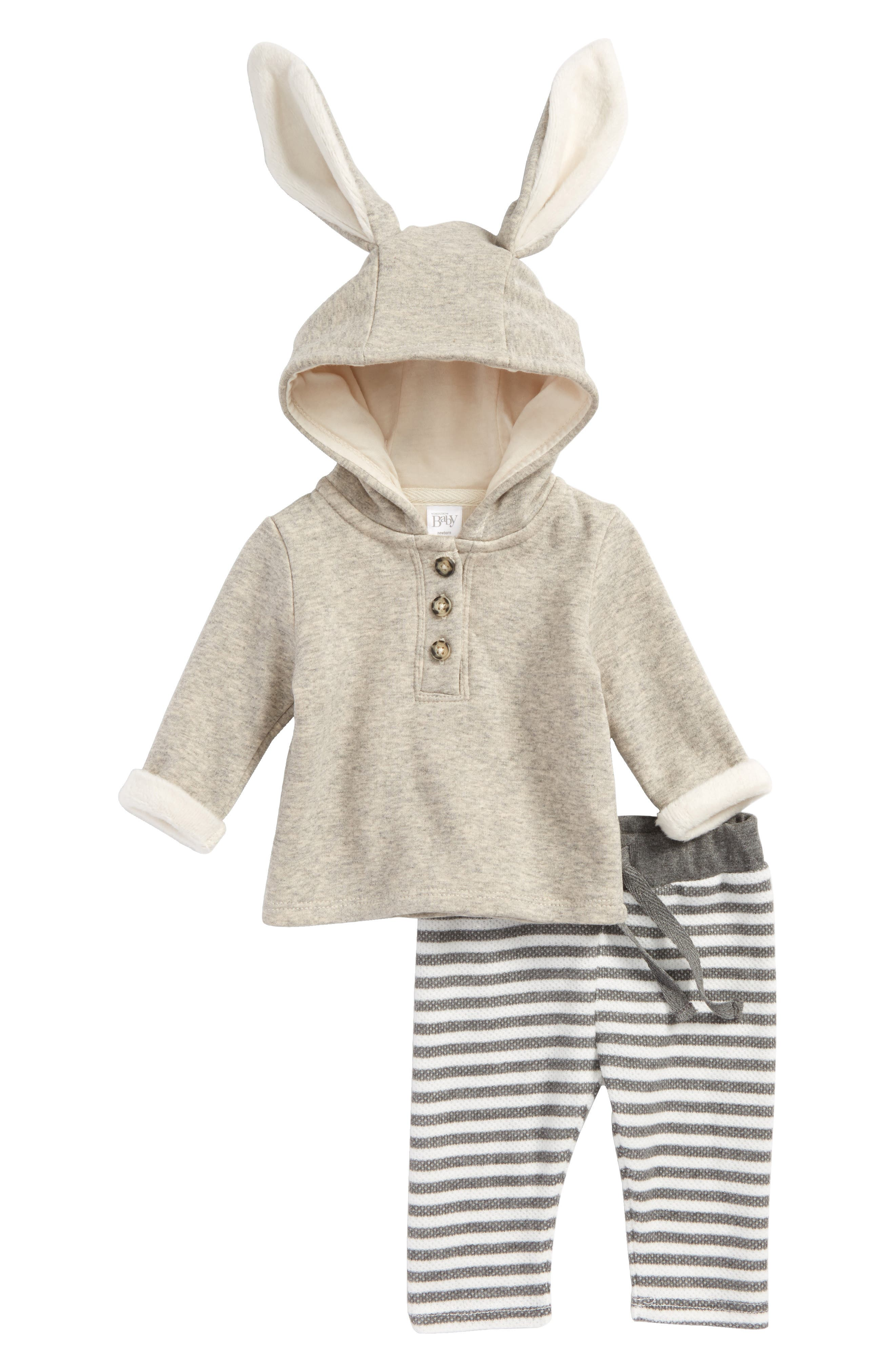 Cozy Bunny Sweatshirt & Leggings Set,                             Main thumbnail 1, color,                             Grey Mist Heather Rabbit