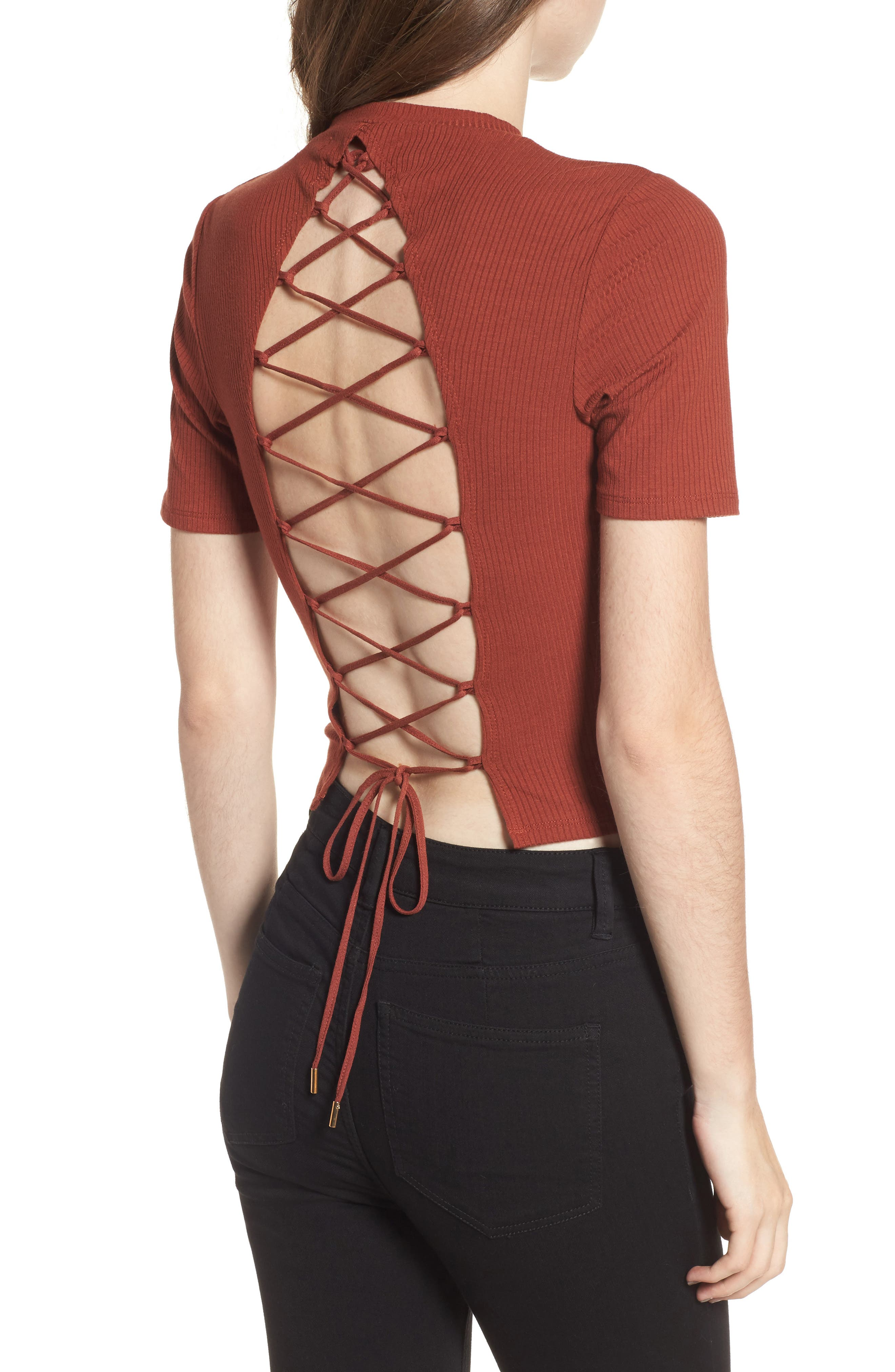 Lace Back Ribbed Crop Top,                             Alternate thumbnail 2, color,                             Henna