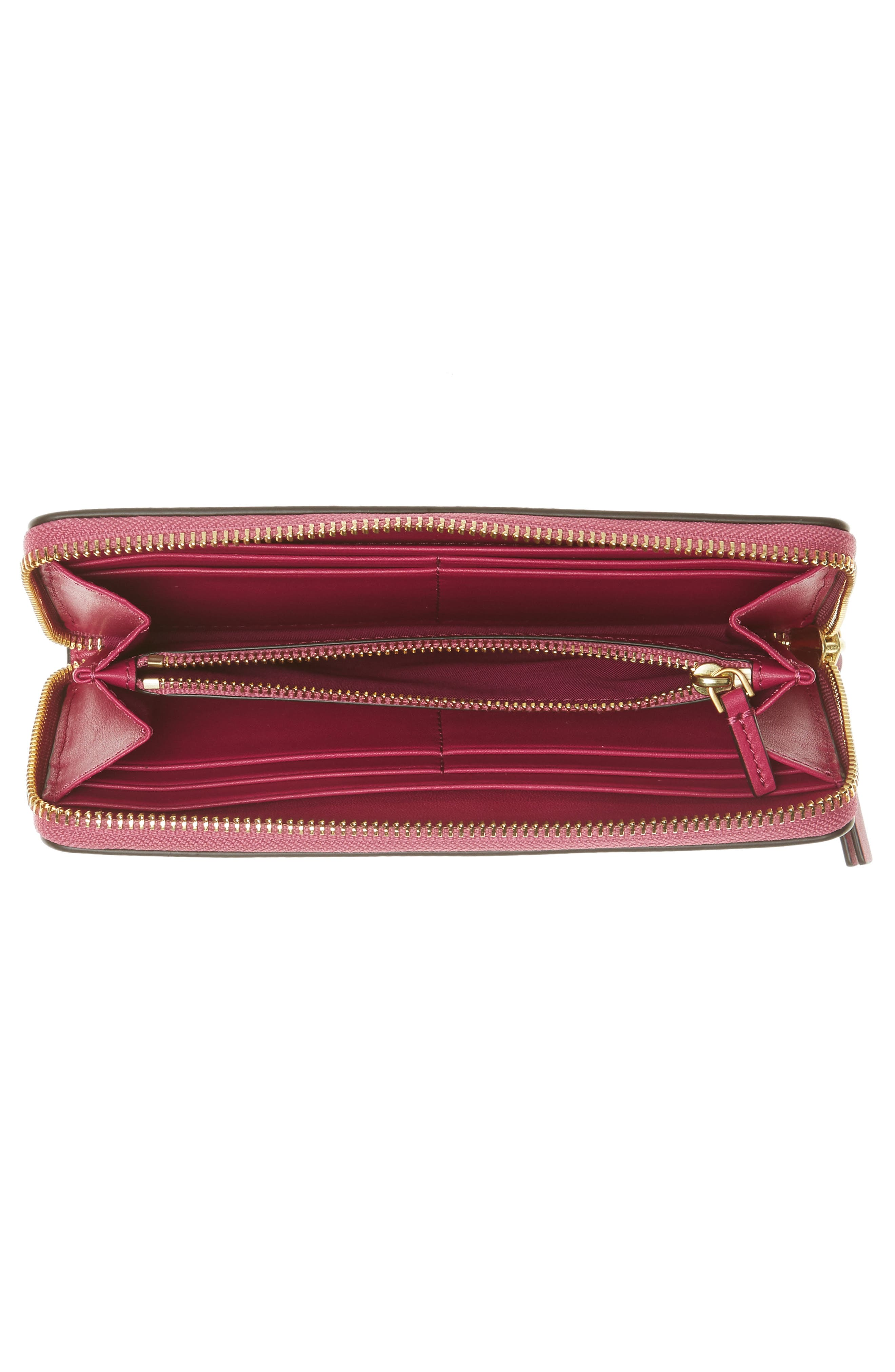 Charlie Leather Continental Wallet,                             Alternate thumbnail 3, color,                             Party Fuchsia