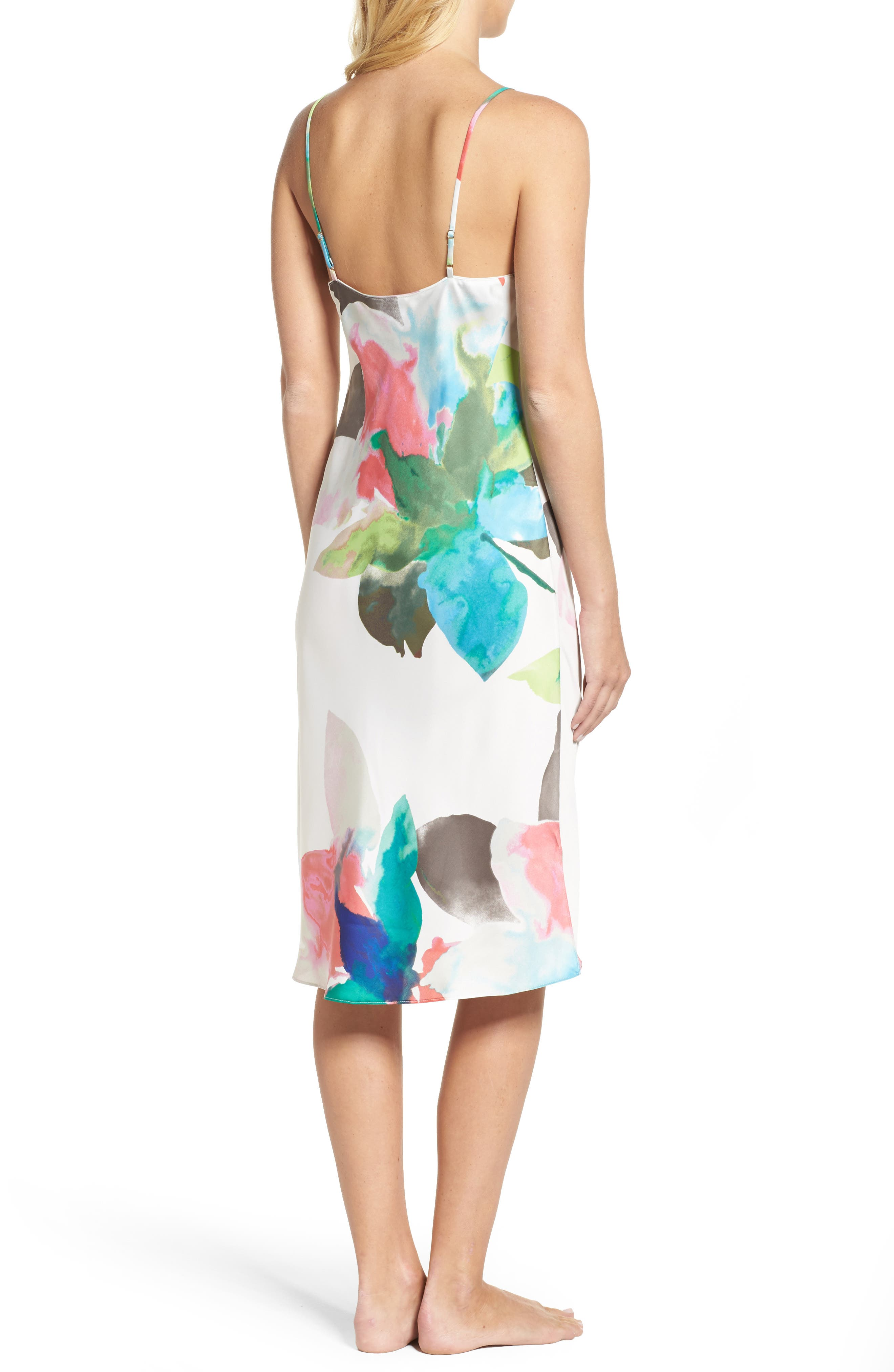 Alternate Image 2  - Natori Water Lily Print Satin Nightgown
