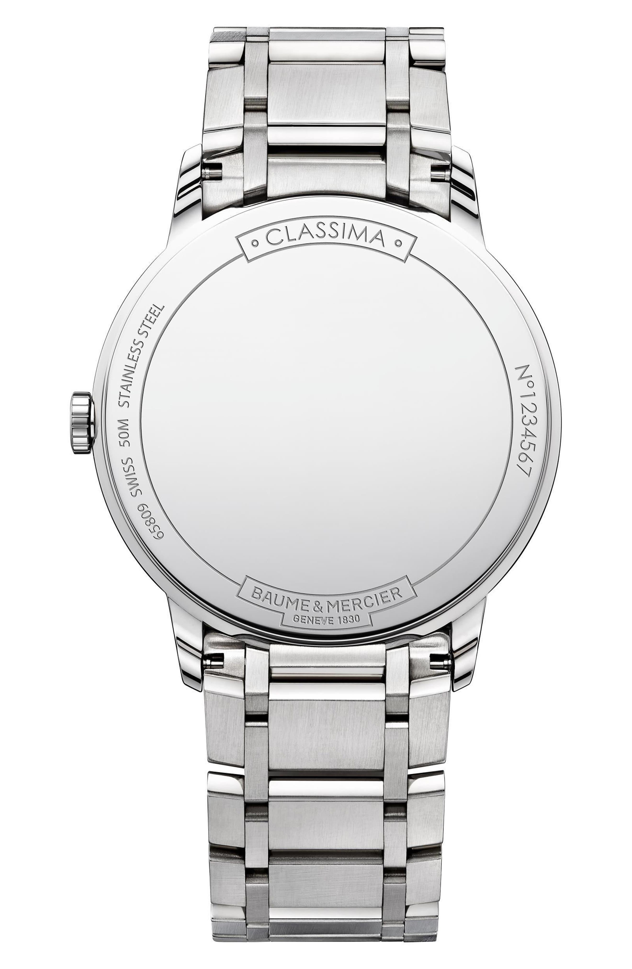 Baume & Mercier Classima Bracelet Watch, 40mm,                             Alternate thumbnail 2, color,                             Blue/ Silver