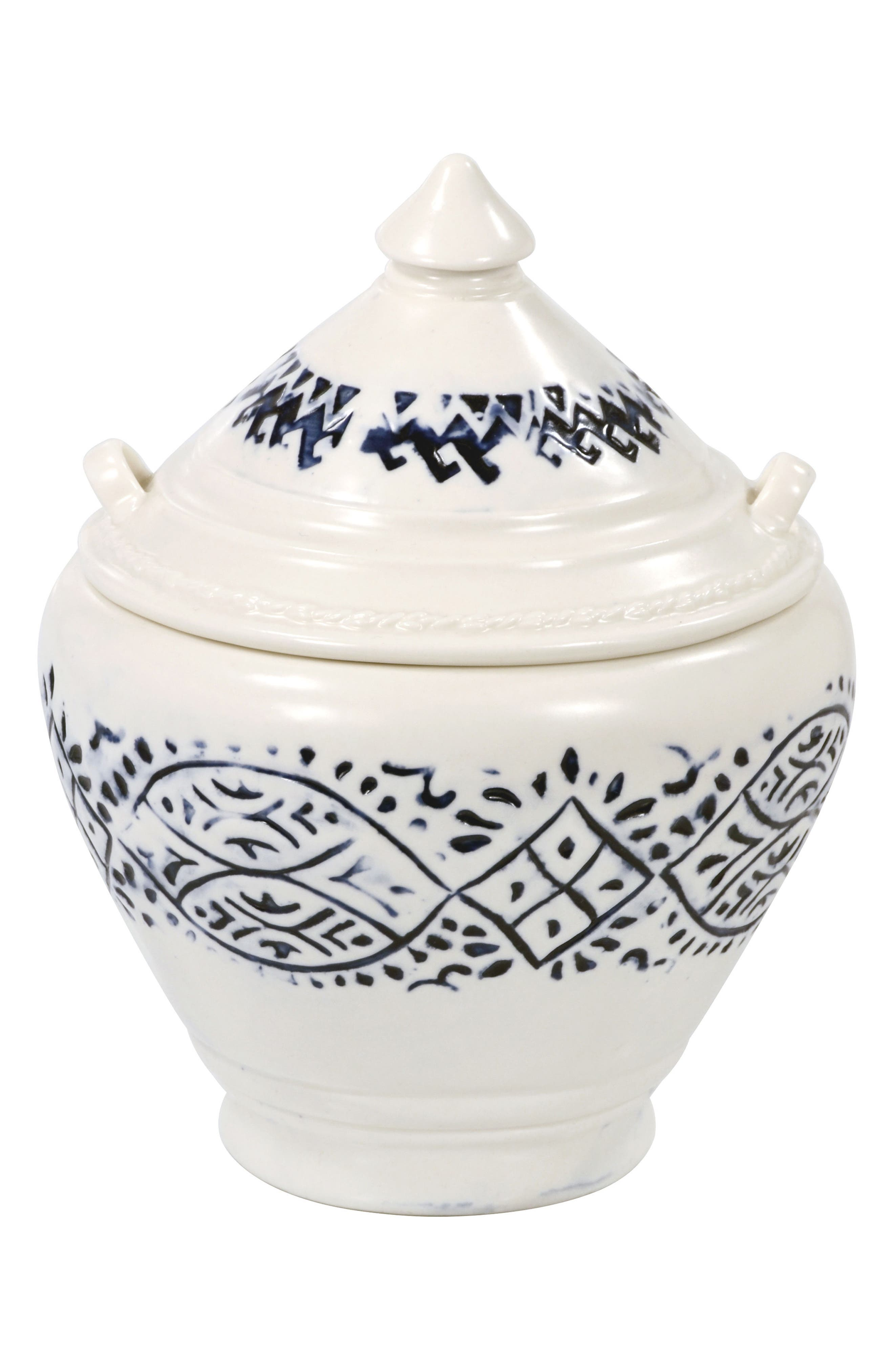 Lakki Covered Porcelain Jar,                             Main thumbnail 1, color,                             Indigo