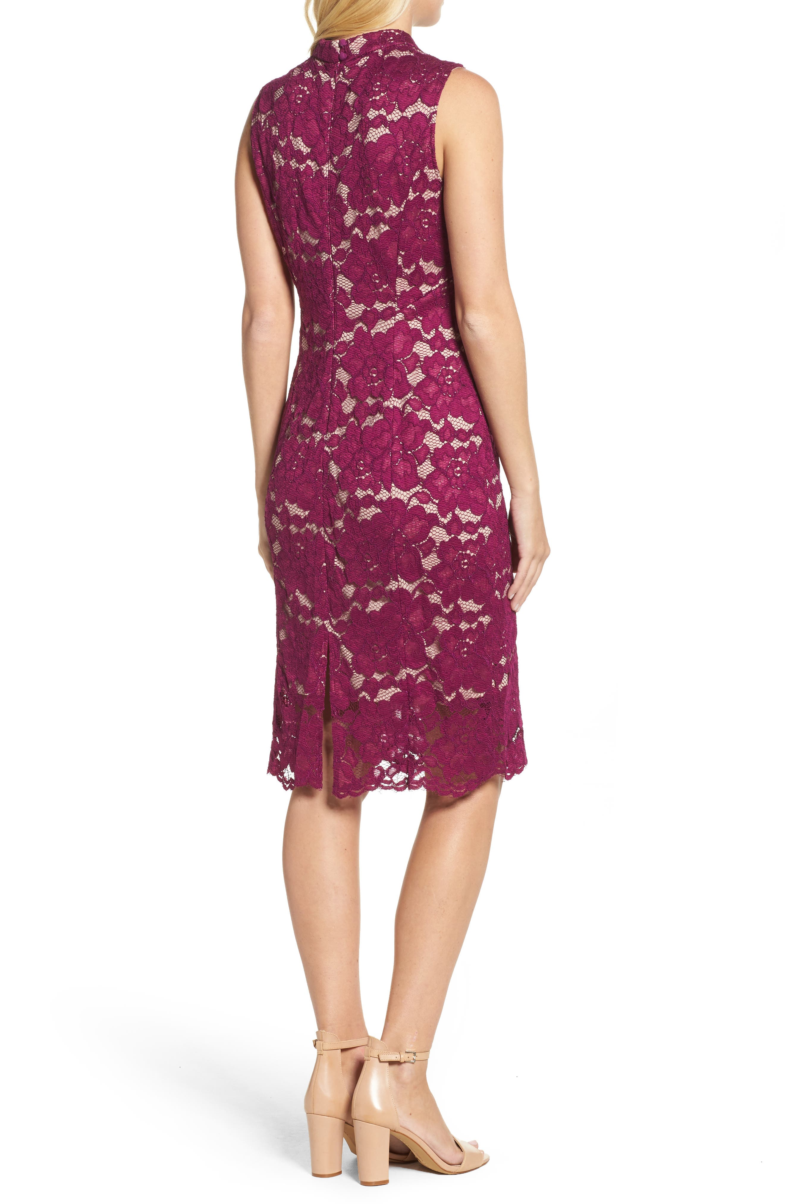 Twin Flower Lace Sheath Dress,                             Alternate thumbnail 2, color,                             Burgundy
