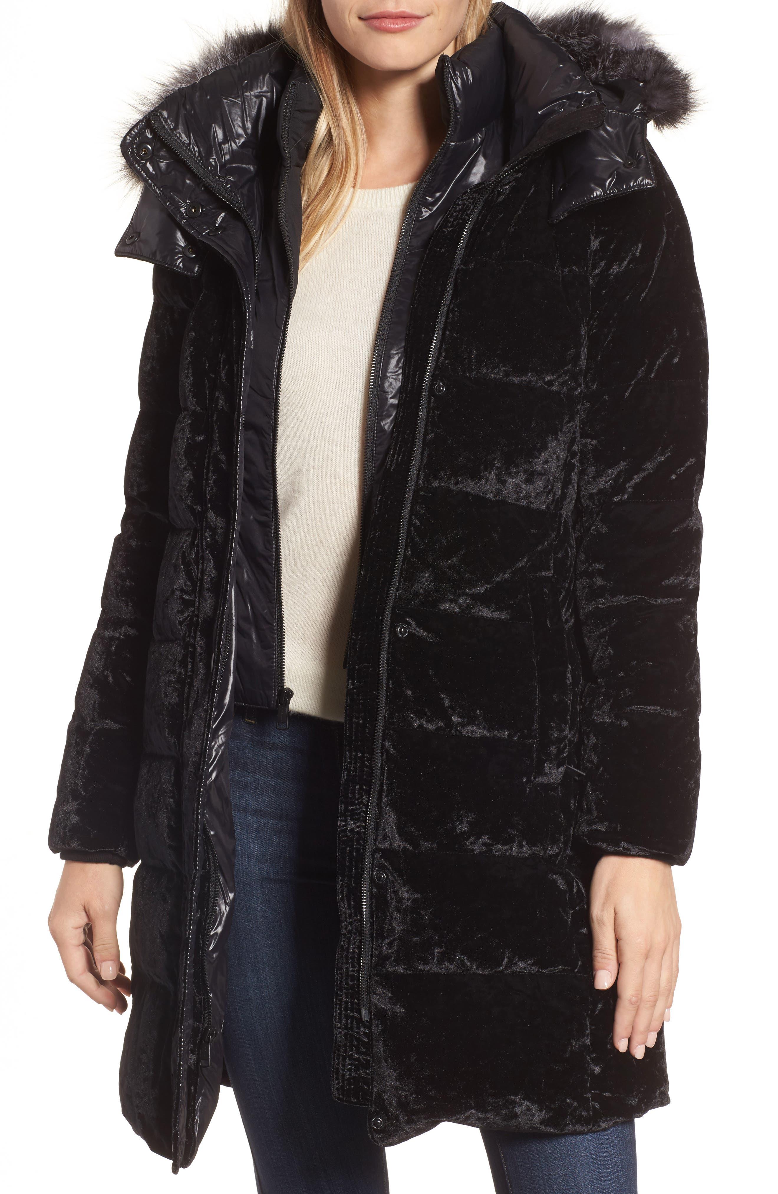 Velvet Down Jacket with Genuine Fox Fur,                             Main thumbnail 1, color,                             Black