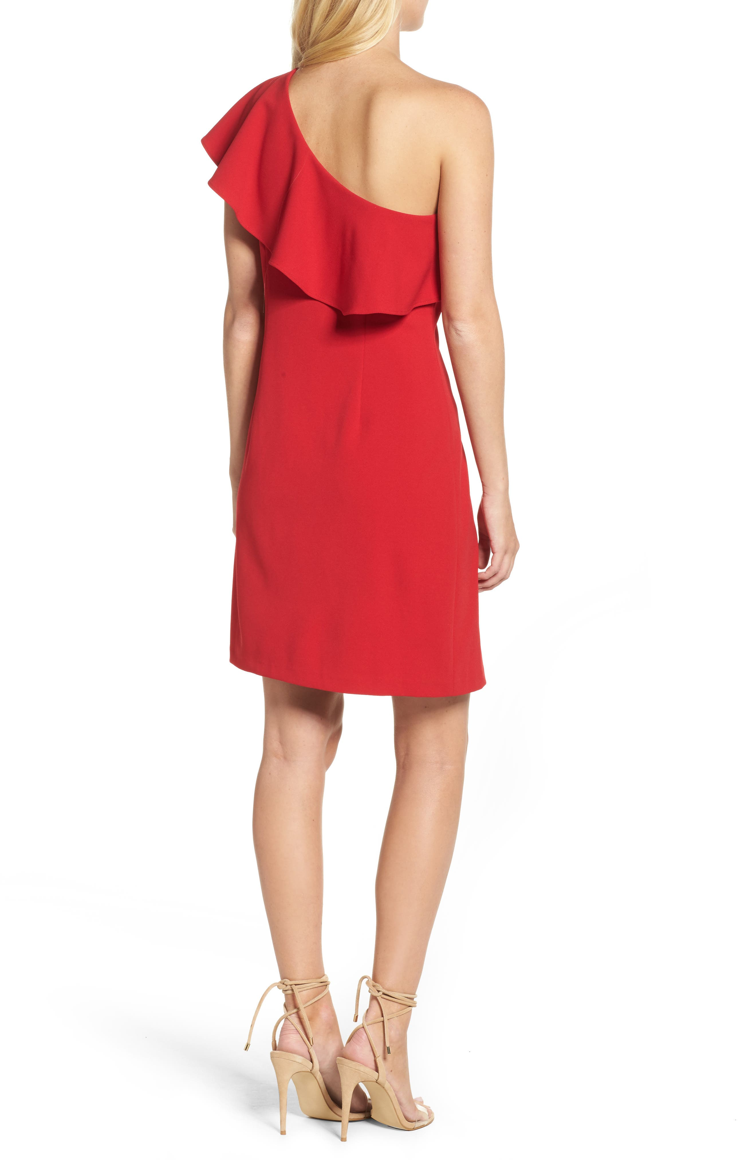 Ruffle One-Shoulder Shift Dress,                             Alternate thumbnail 2, color,                             Red