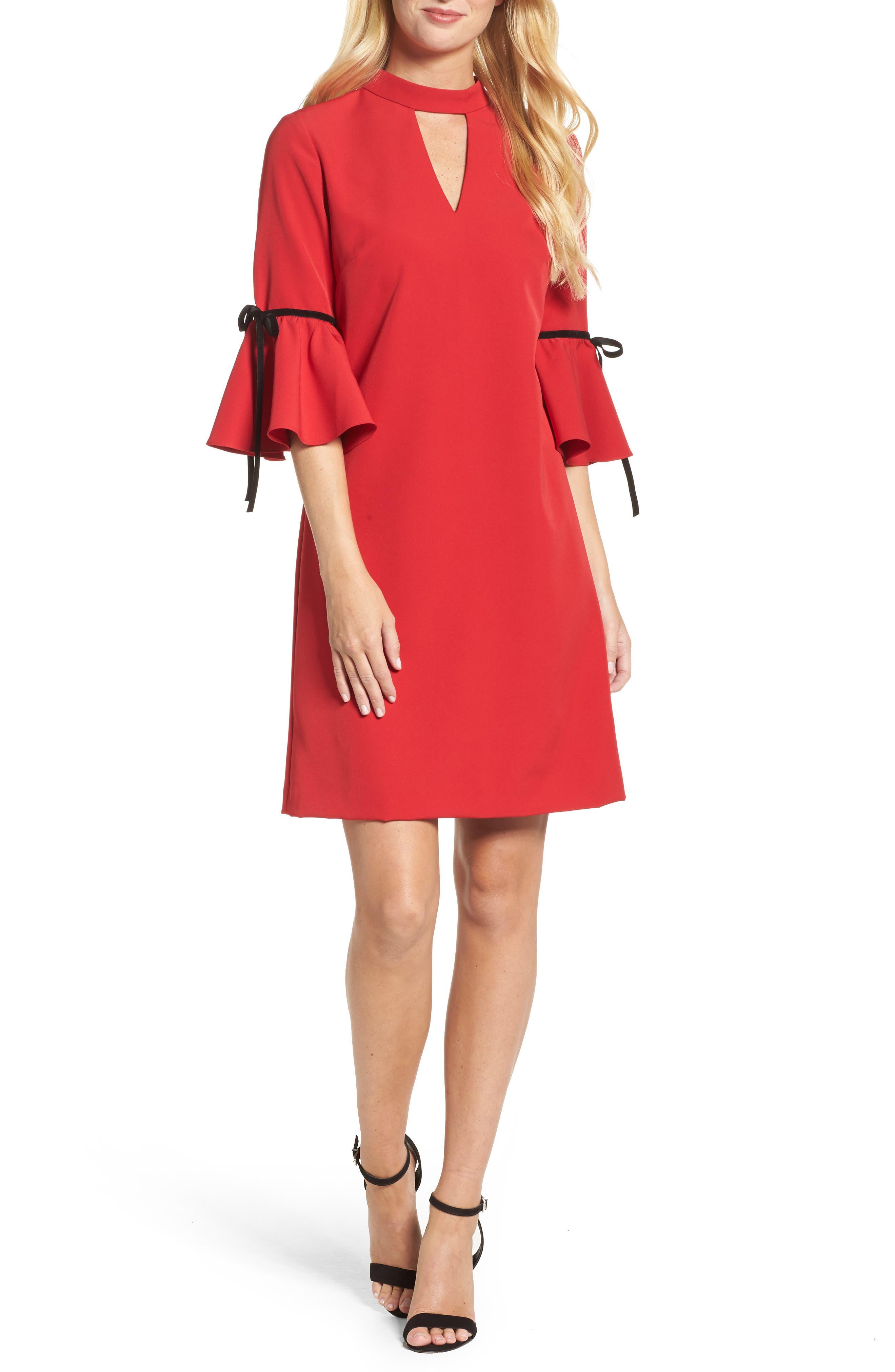 Choker Bell Sleeve Dress,                         Main,                         color, Red