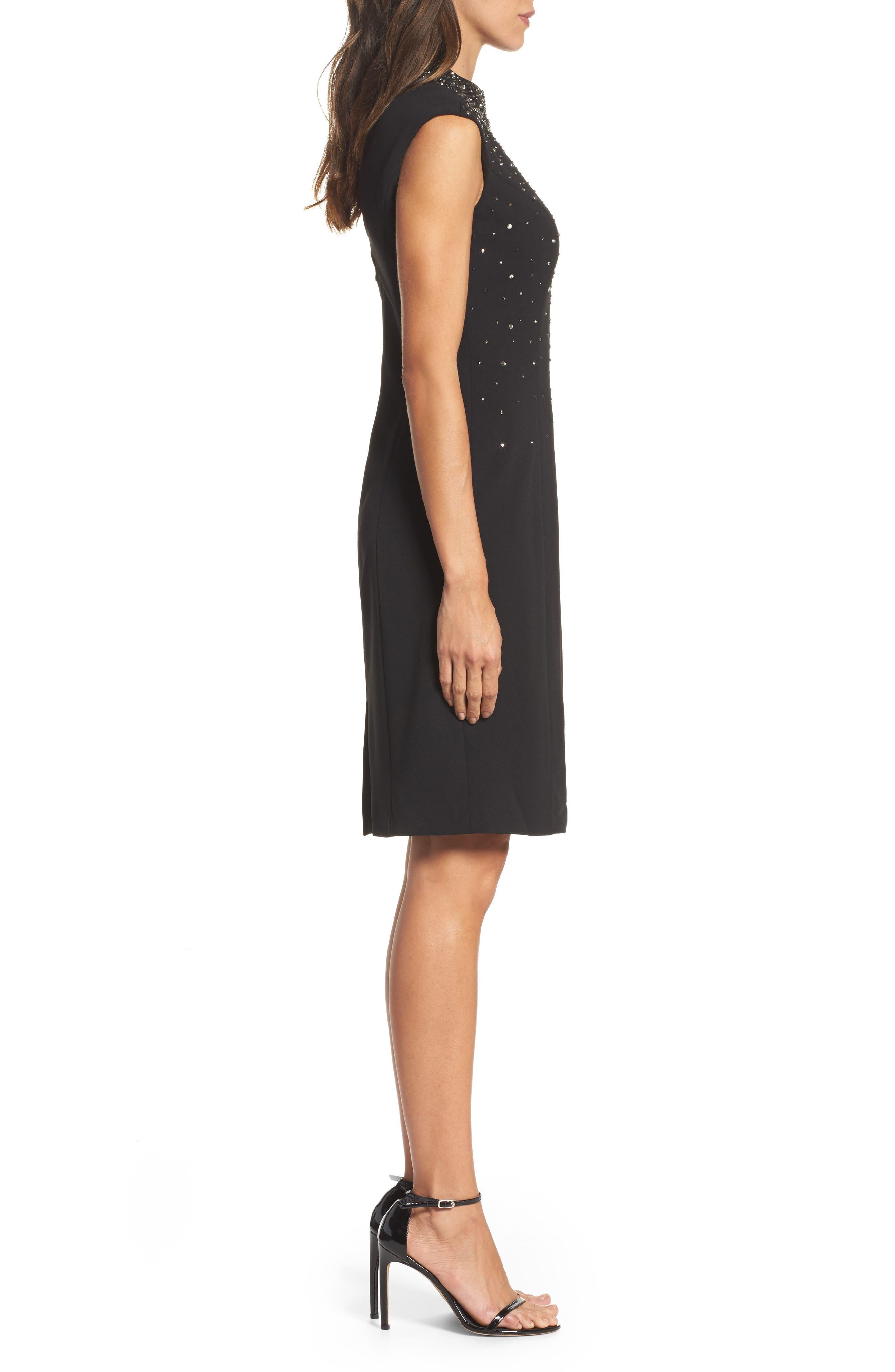 Embellished Sheath Dress,                             Alternate thumbnail 3, color,                             Black/ Blue