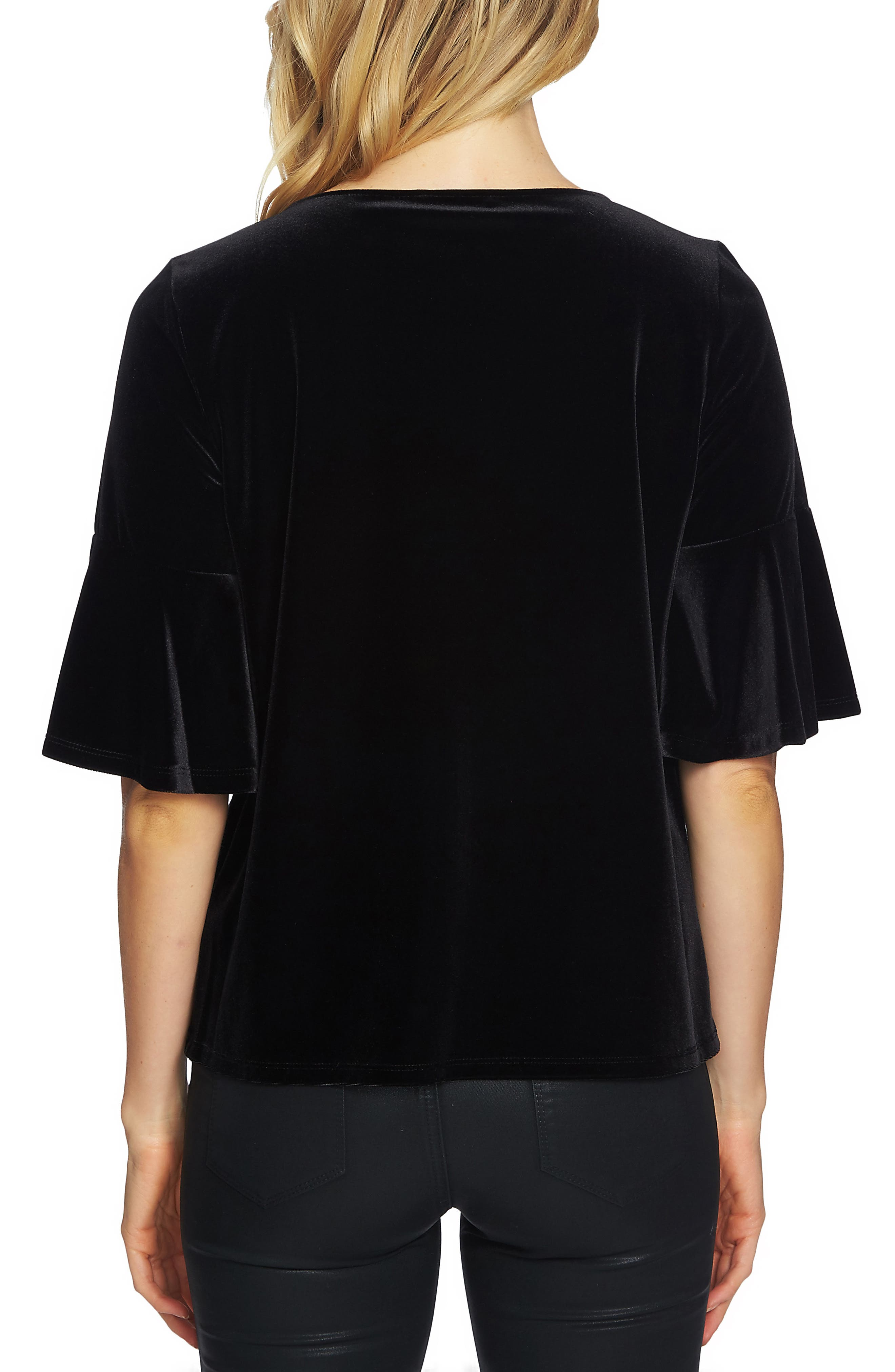 Bell Sleeve Velvet Top,                             Alternate thumbnail 2, color,                             Rich Black