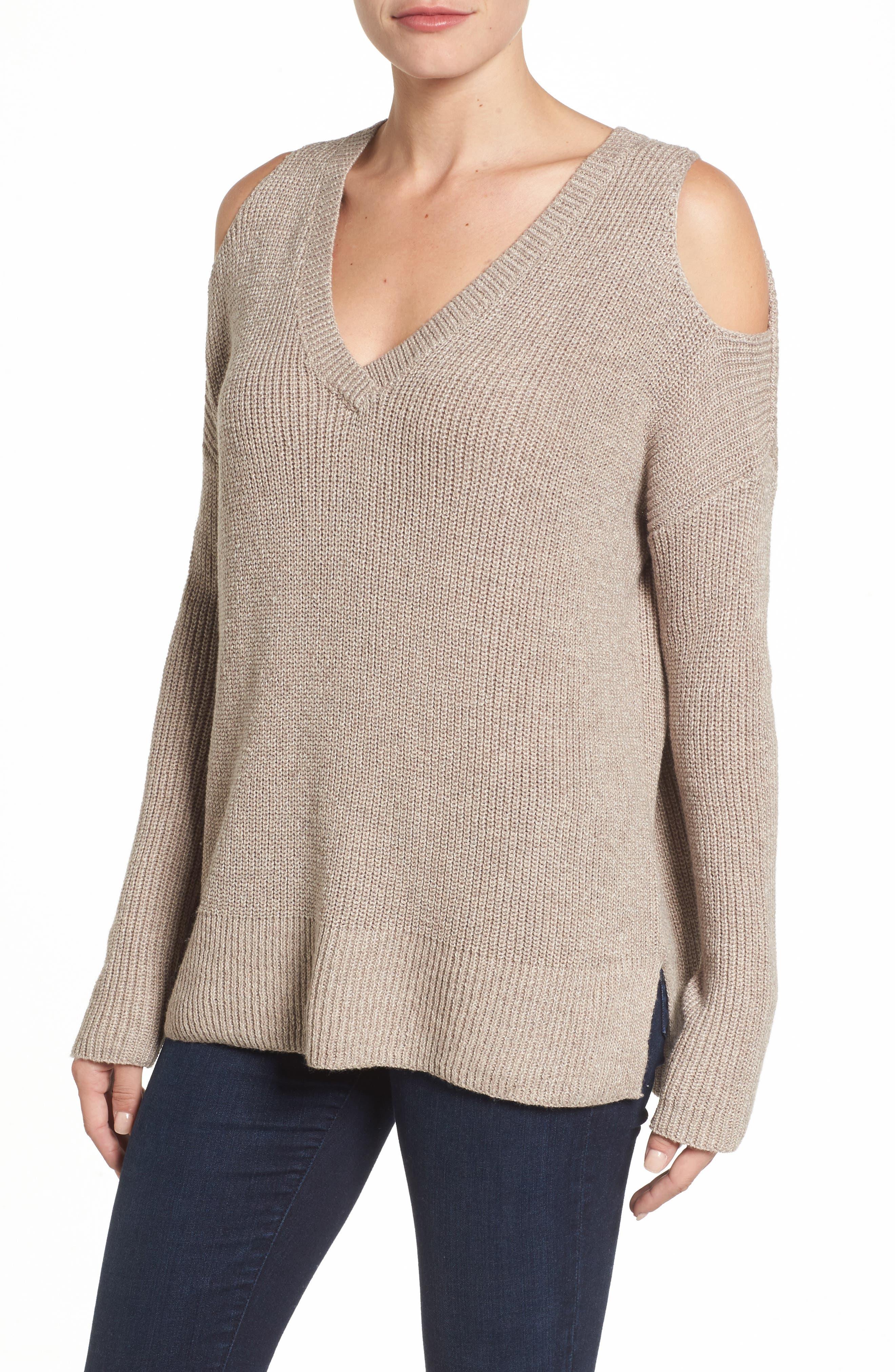 Cold Shoulder Tunic Sweater,                         Main,                         color, Heather Tan Cobblestone