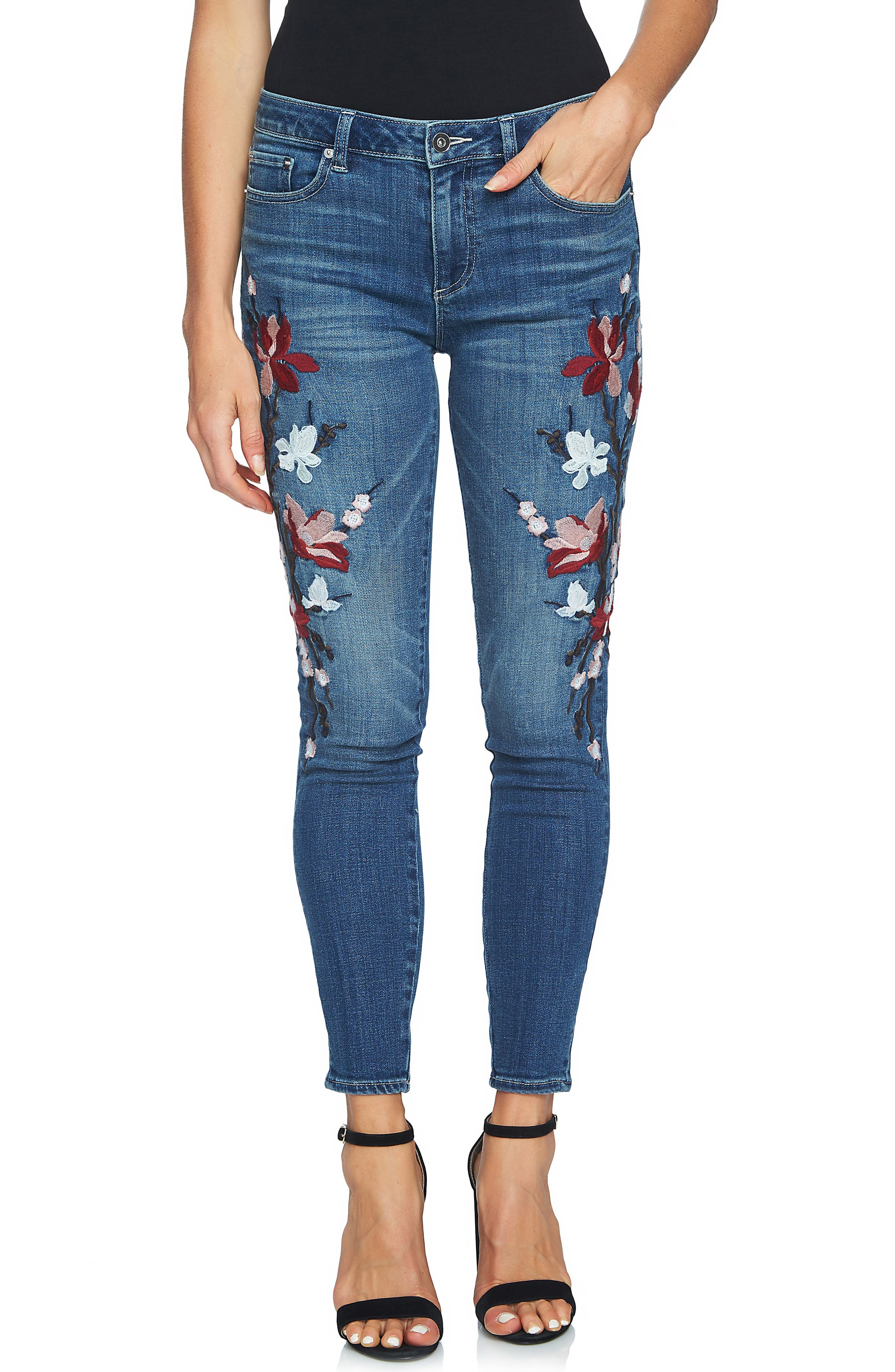 Floral Embroidered Skinny Jeans,                             Alternate thumbnail 3, color,                             True Blue