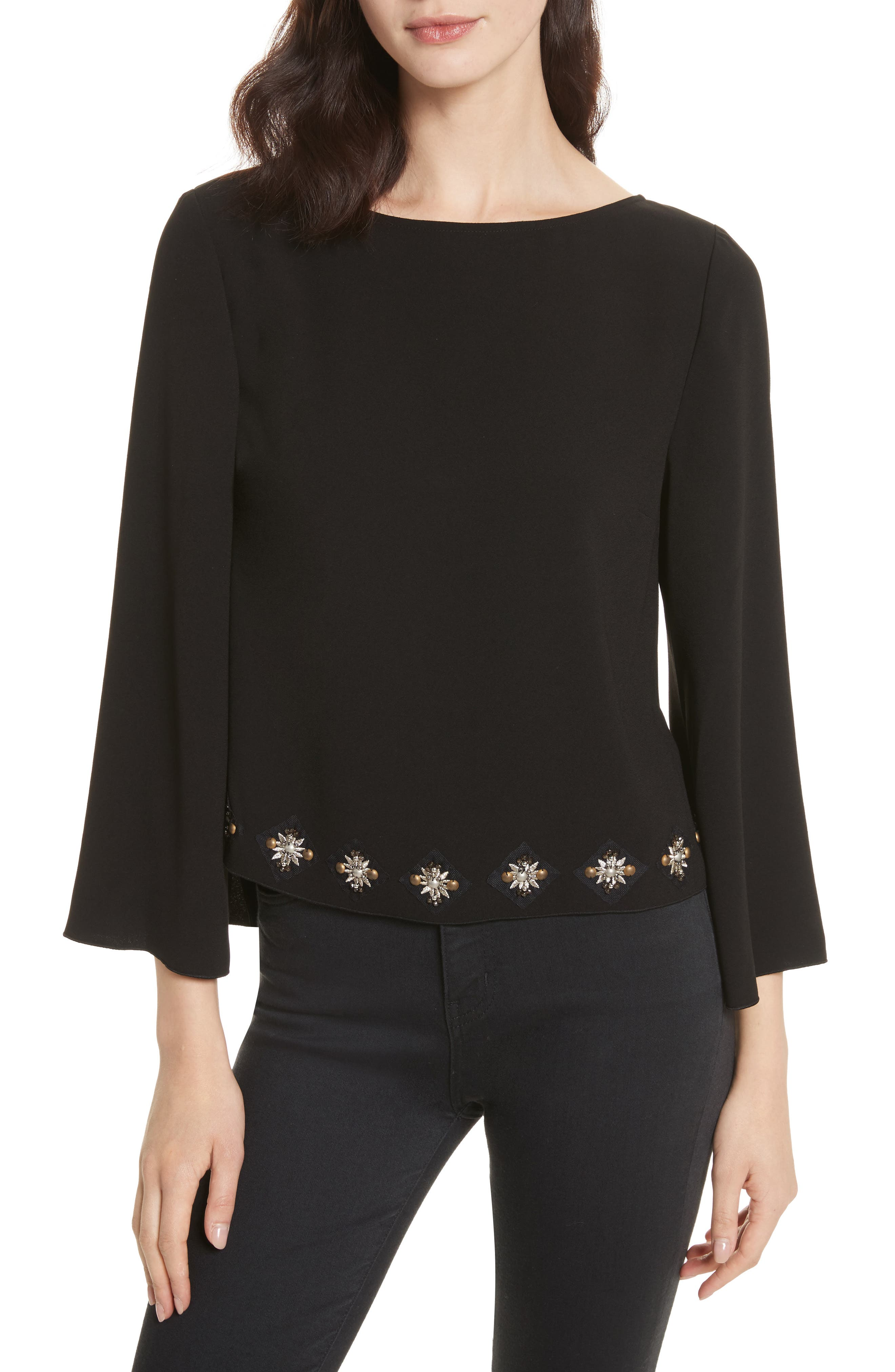 Nico Embellished Top,                             Main thumbnail 1, color,                             Black