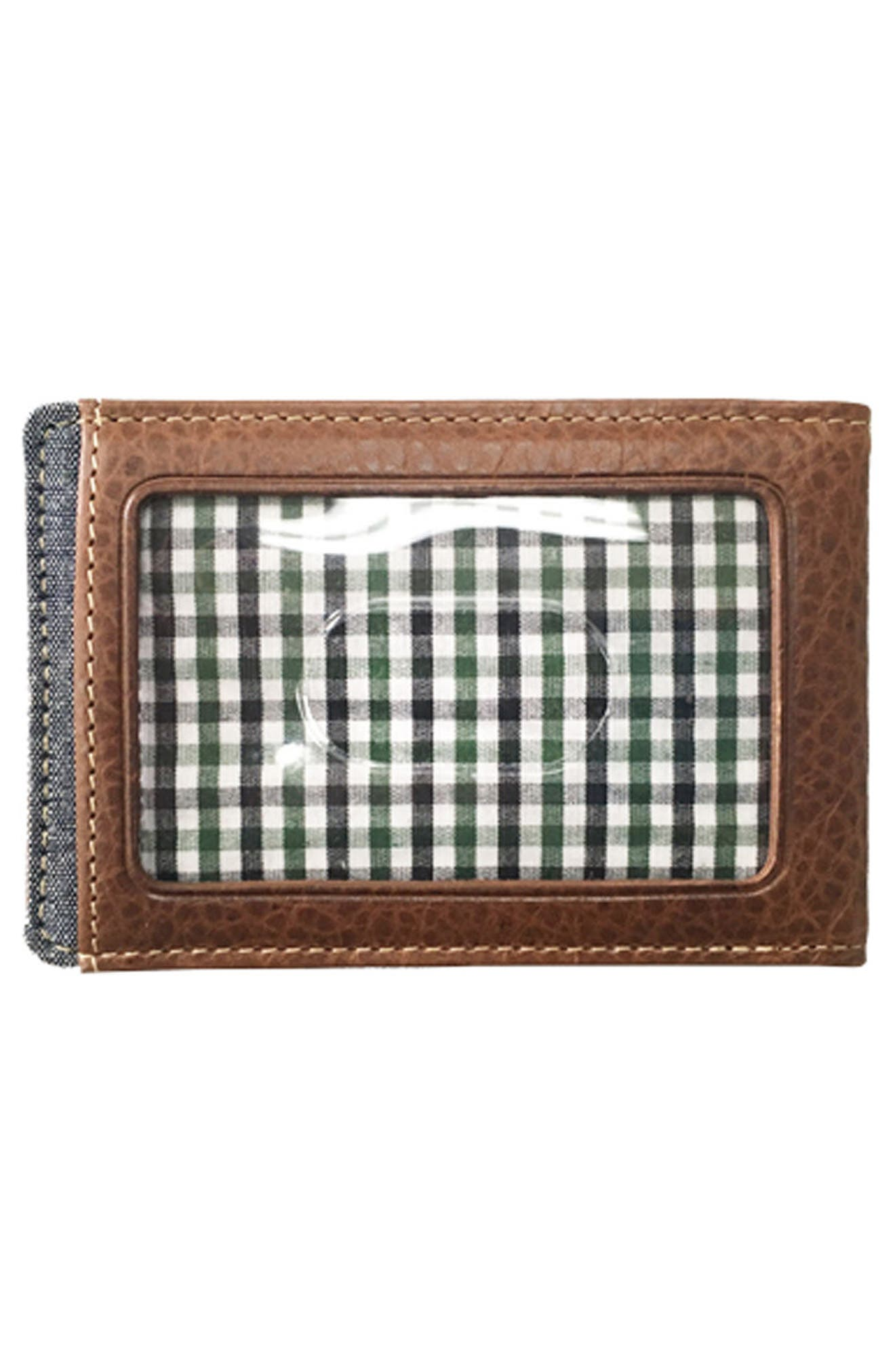 Caleb Bifold Wallet with Money Clip,                             Alternate thumbnail 3, color,                             Chestnut/ Chambray