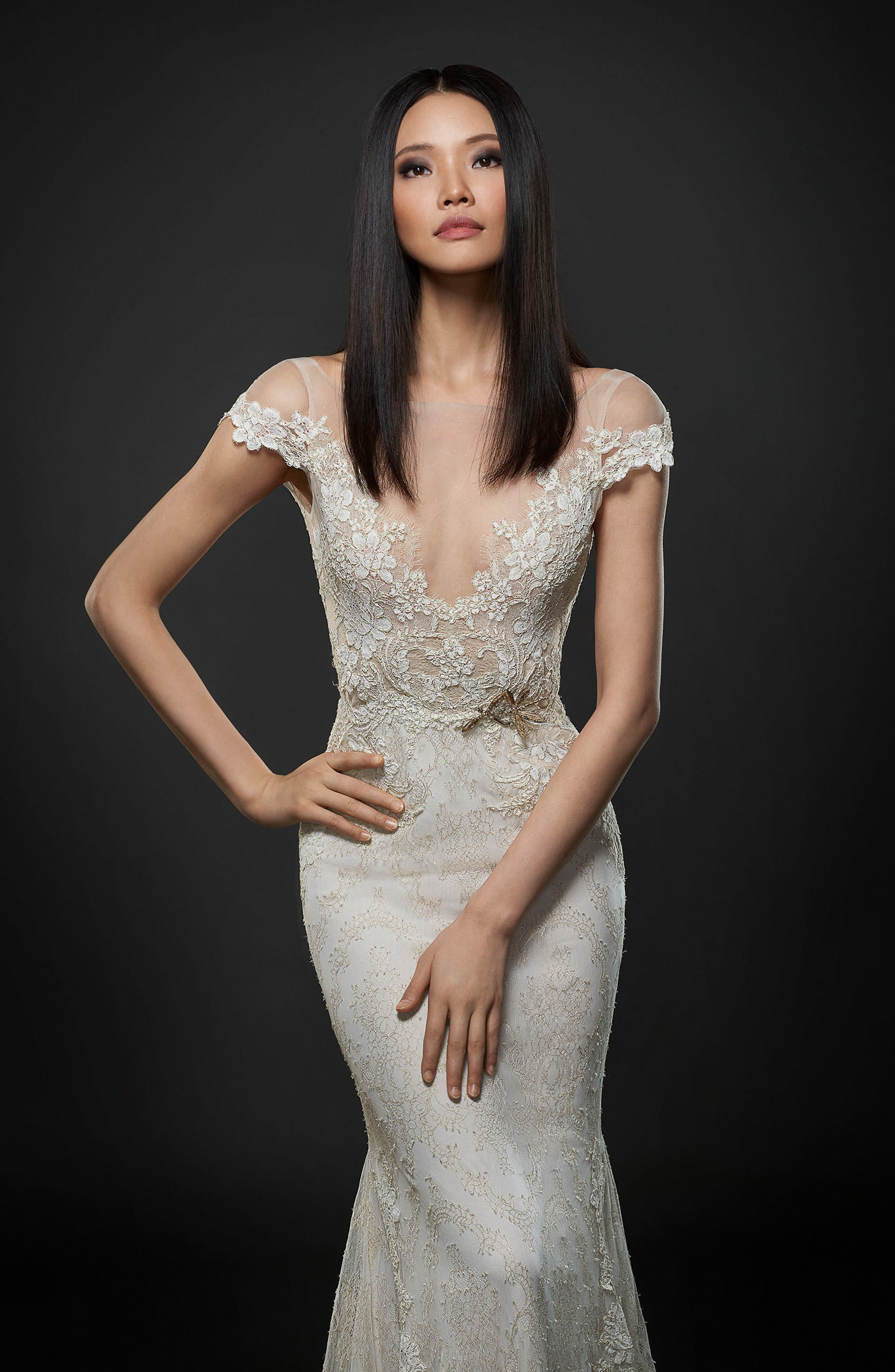 Alternate Image 3  - Lazaro Embroidered Lace Cap Sleeve Gown