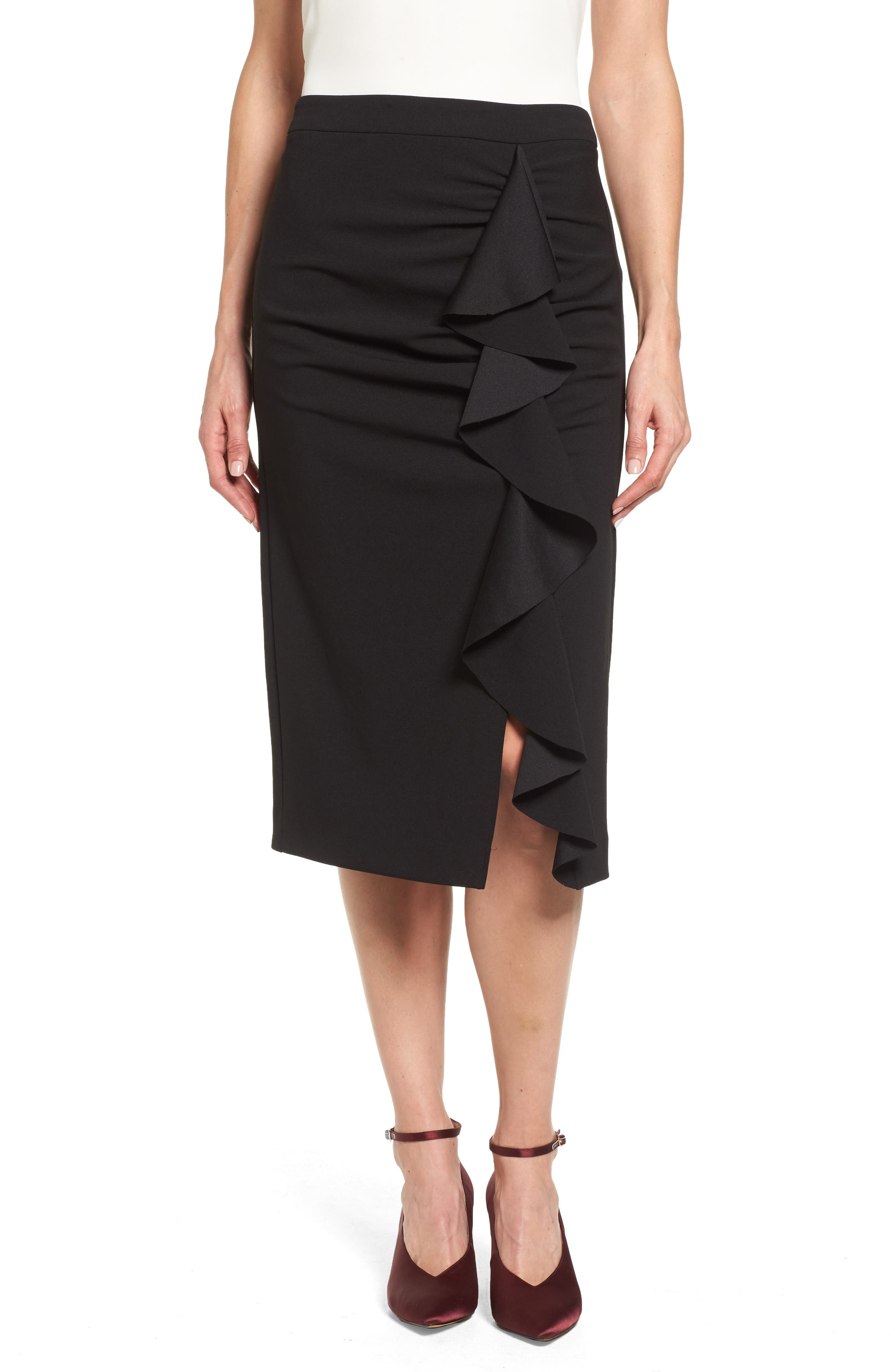 Vince Camuto Front Ruffle Crepe Ponte Pencil Skirt