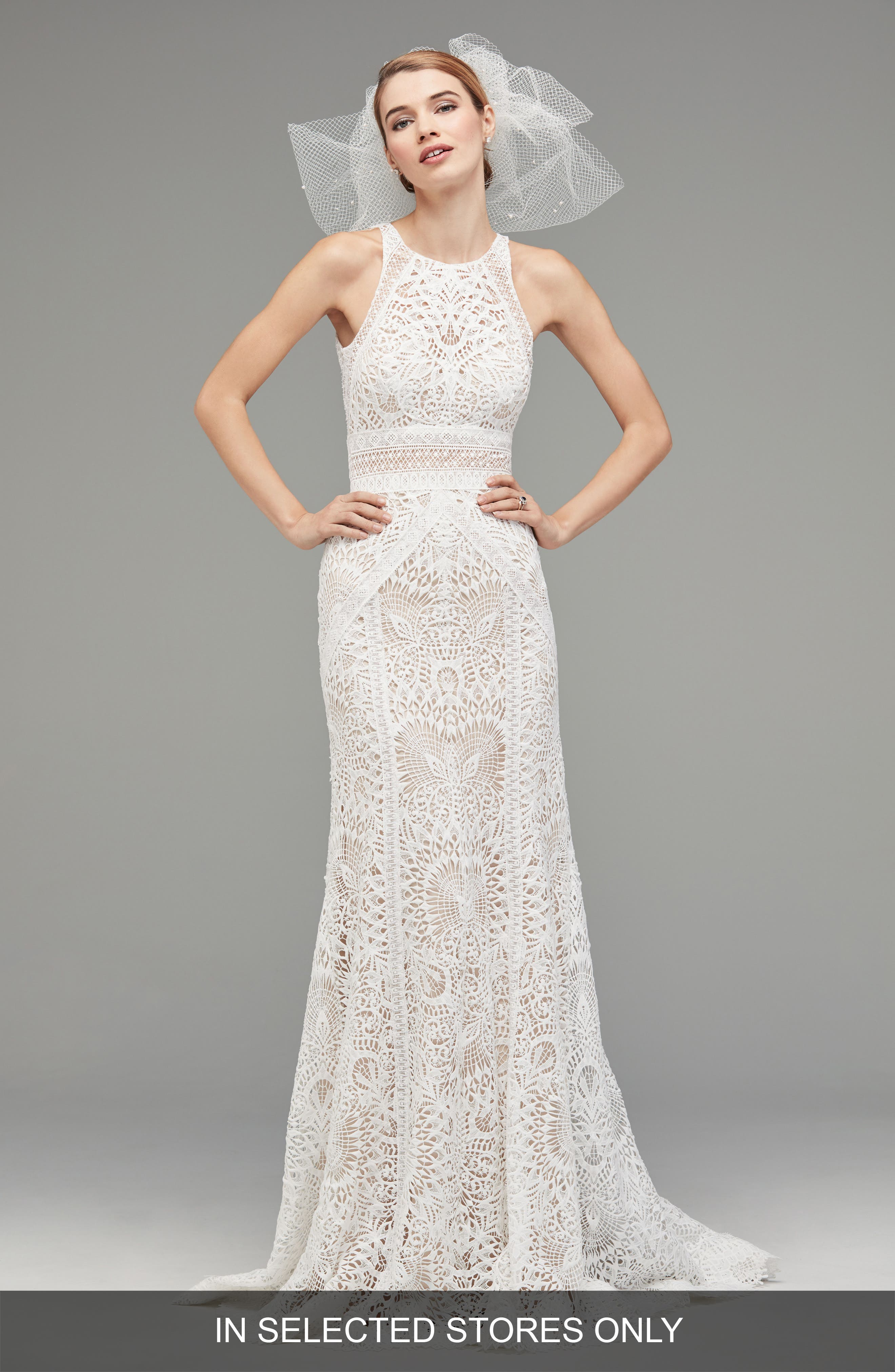 Vendela Sleeveless Empire Waist Lace Gown,                         Main,                         color, Ivory/Blush