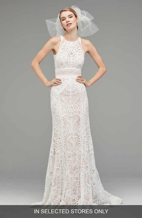 Watters Vendela Sleeveless Empire Waist Lace Gown