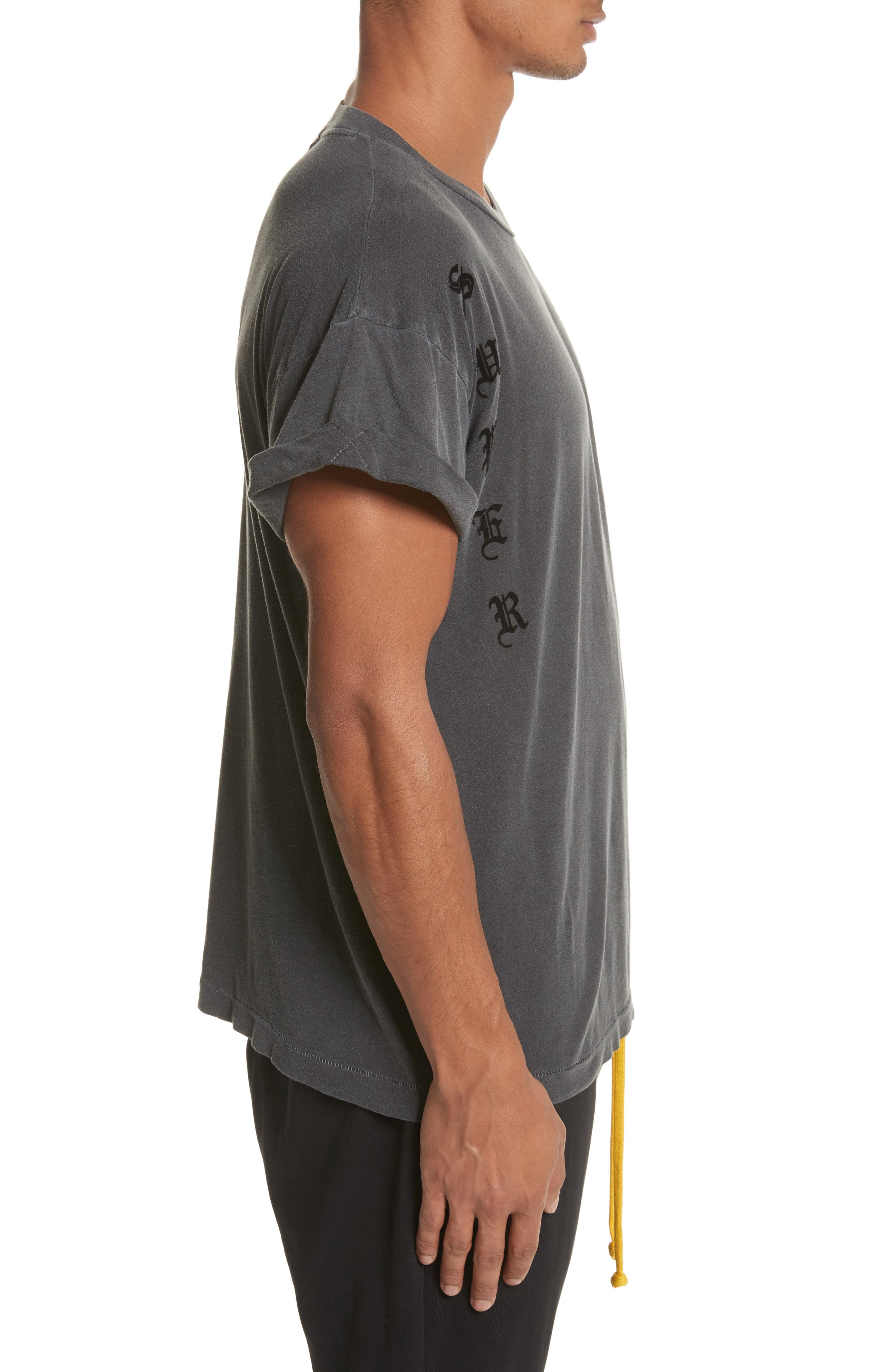 Abassi Embroidered T-Shirt,                             Alternate thumbnail 3, color,                             Blk Pigment