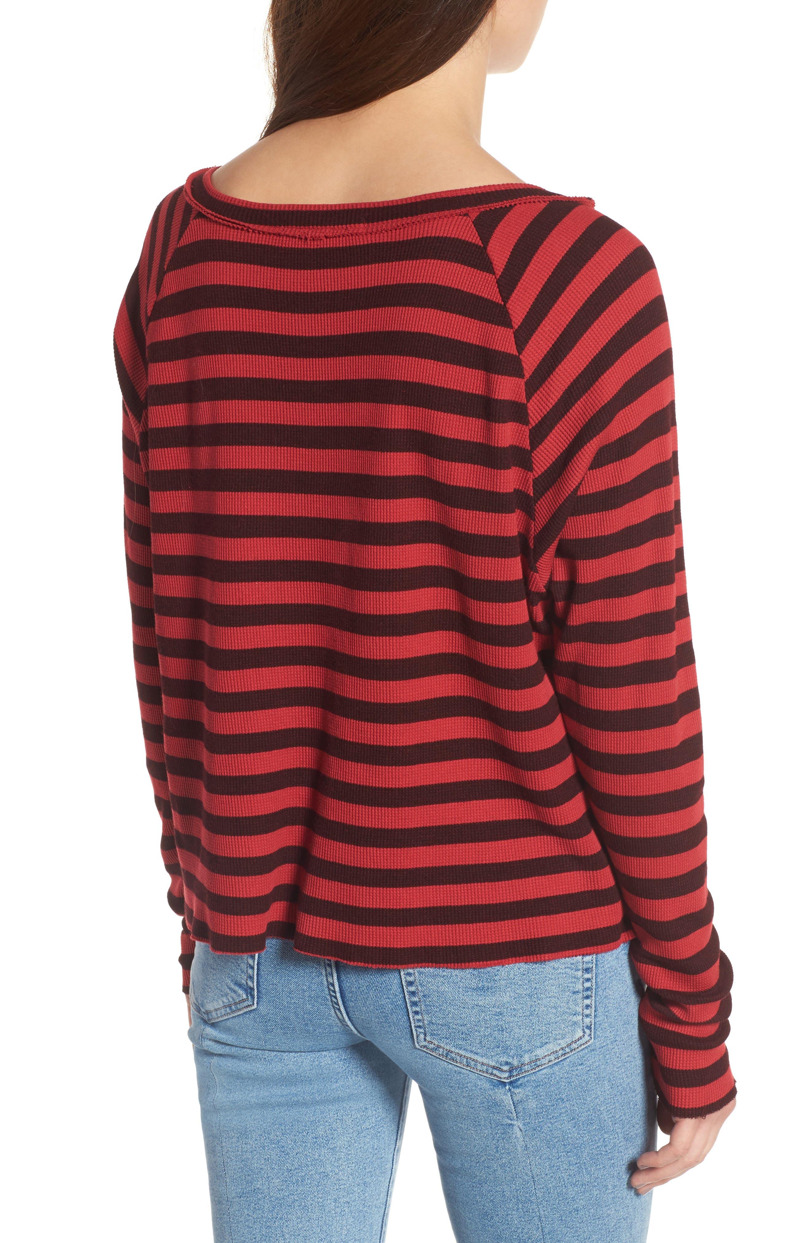 Stripe Thermal Top,                             Alternate thumbnail 2, color,                             Scarlet