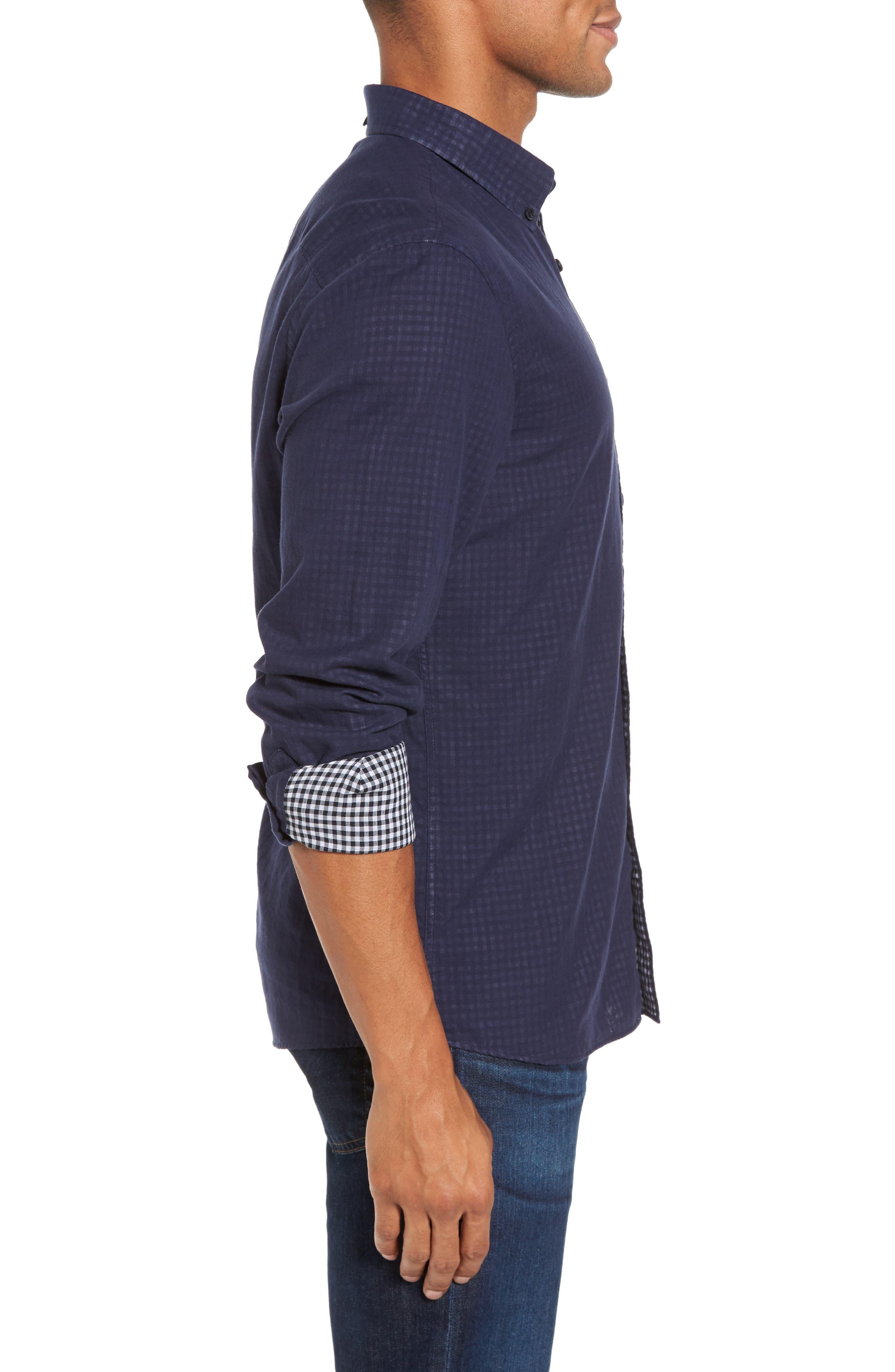 Alternate Image 3  - Nordstrom Men's Shop Trim Fit Duofold Sport Shirt